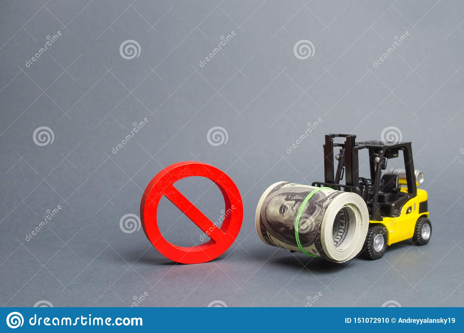 Forklift truck carries a big bundle of dollars and red symbol NO. Restrictions on the export of capital, Economic pressure