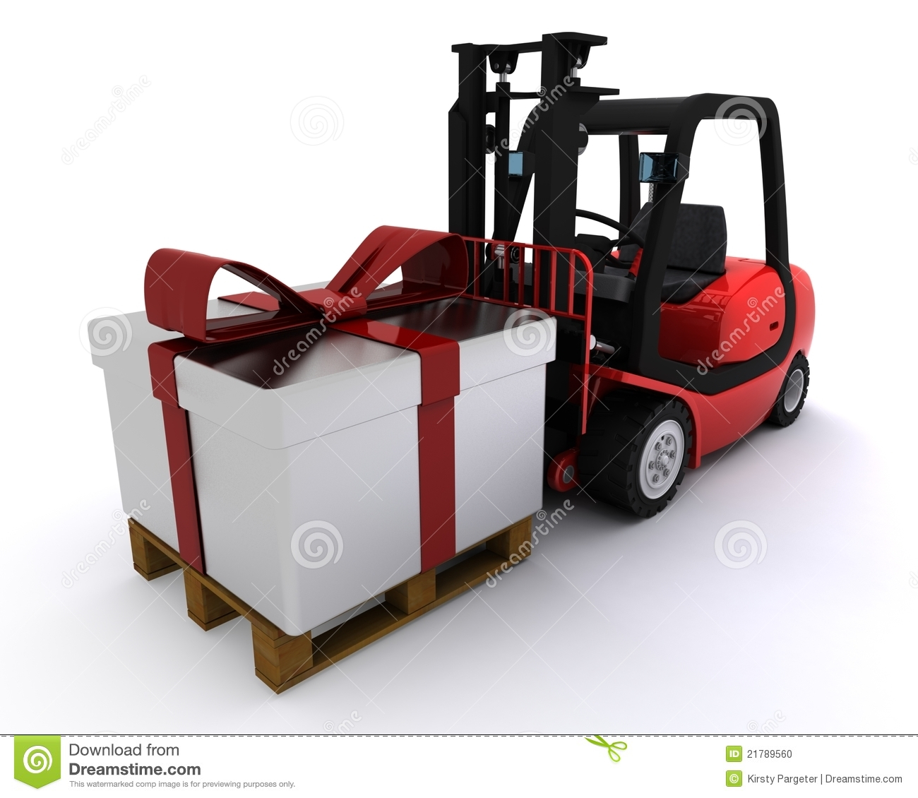 Compartment Of A Fork Lift : Forklift truck with christmas gift box stock photo image