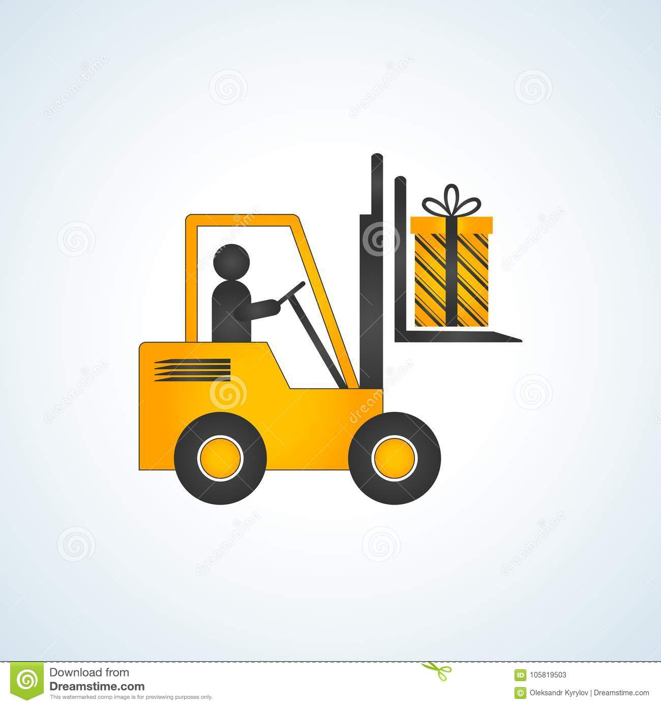 Forklift Truck With Christmas Gift Box Stock Image - Image of gift ...