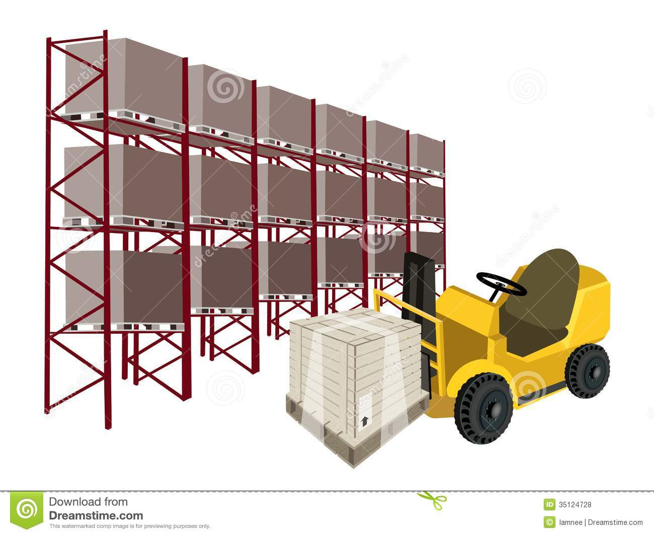 Compartment Of A Fork Lift : Forklift truck loading a shipping box in warehouse stock