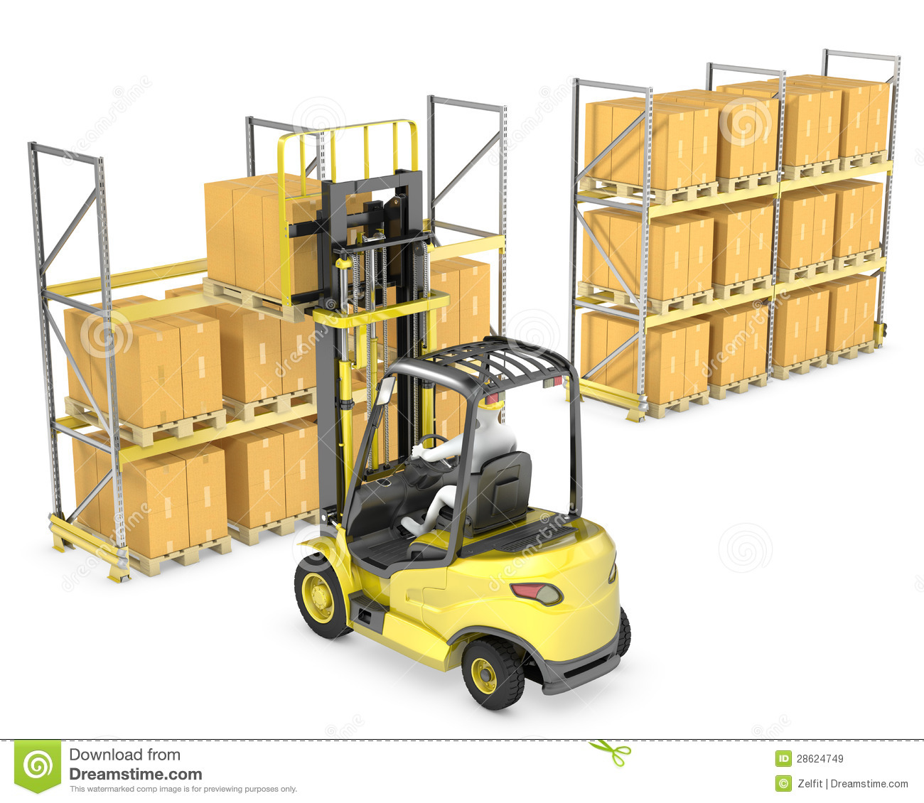 Forklift Truck Loads Pallet On The Rack Royalty Free Stock Images ...