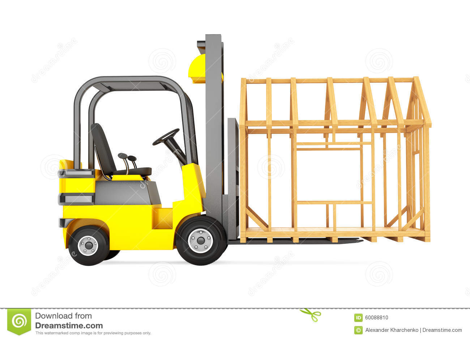 Forklift Truck Moving Frame House Stock Illustration - Illustration ...