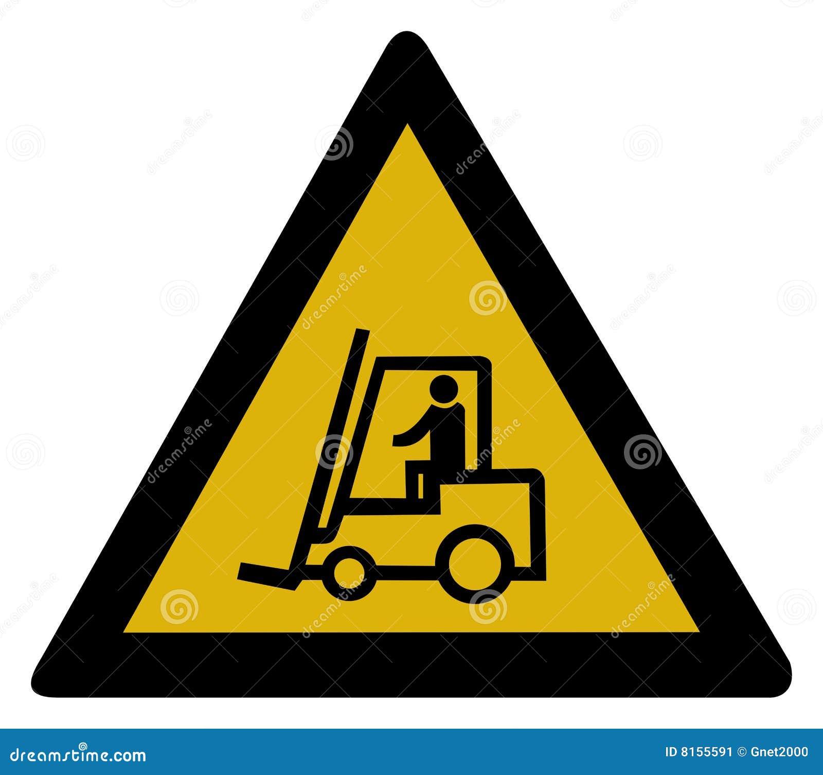 Forklift znaka ciężarówki ostrzeżenie