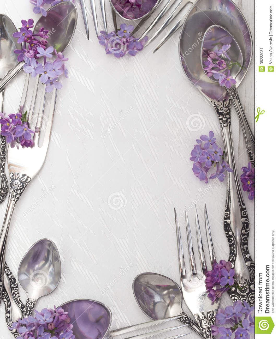Forks And Spoons With Fresh Flowers Stock Image Image