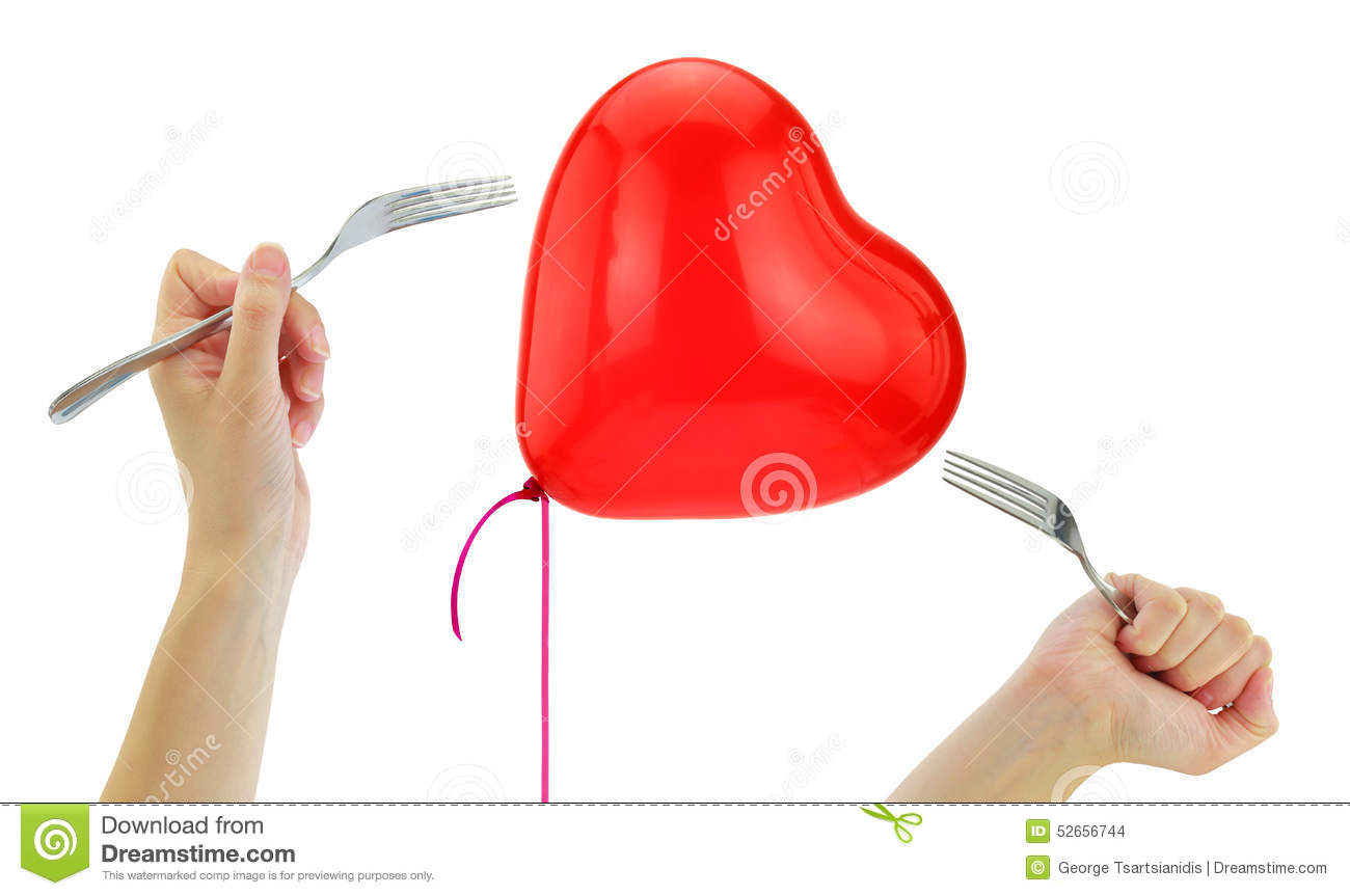 Forks about to pop a heart balloon