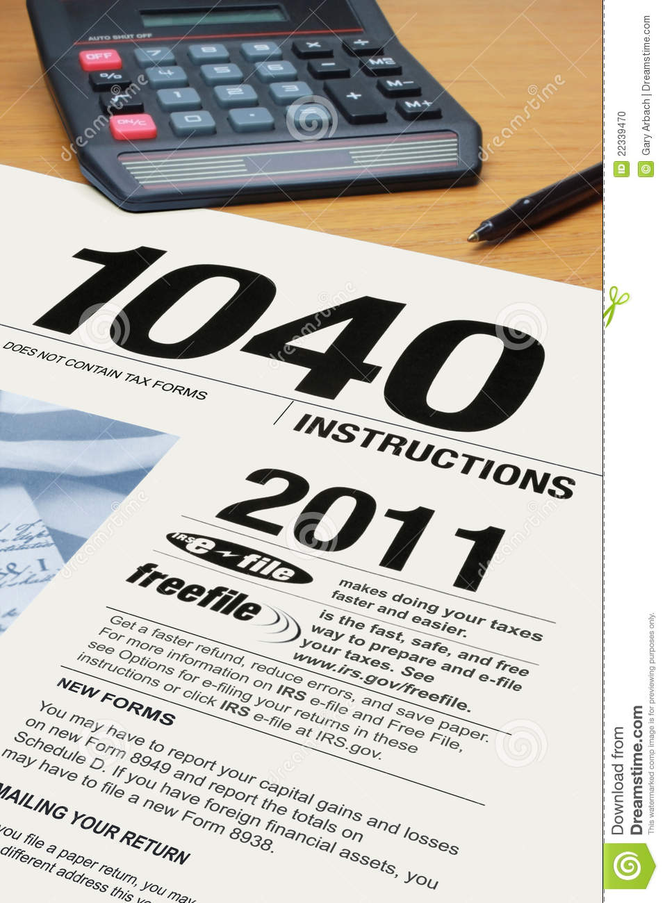 Form 1040 Income Tax Instructions Editorial Image - Image ...