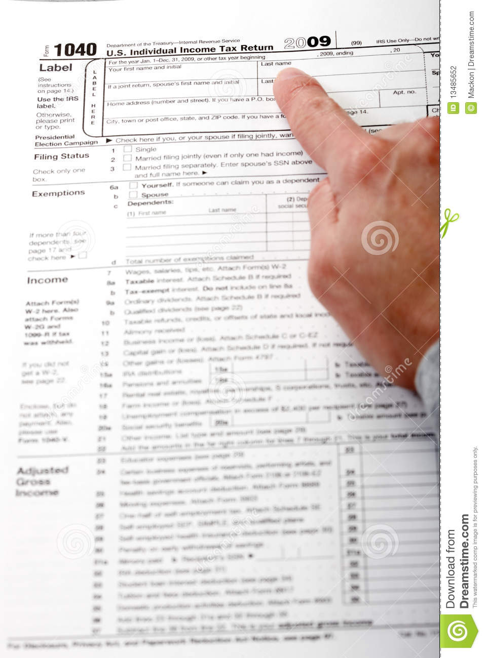 Form 1040 income tax return editorial photography image for 1040 instructions tax table 2010