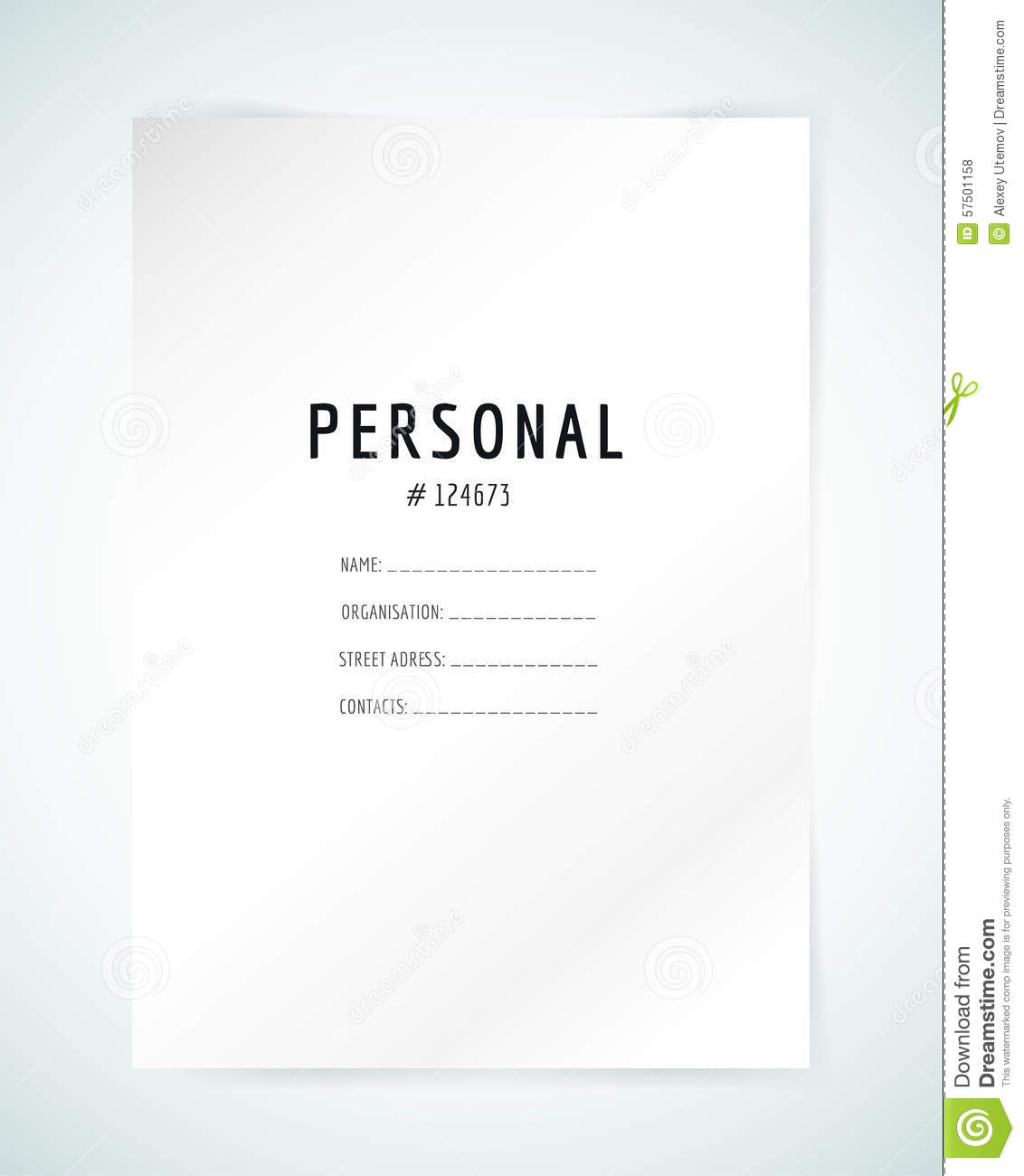 Form Blank Template. Business Folder, Paper And  Personal Information Template