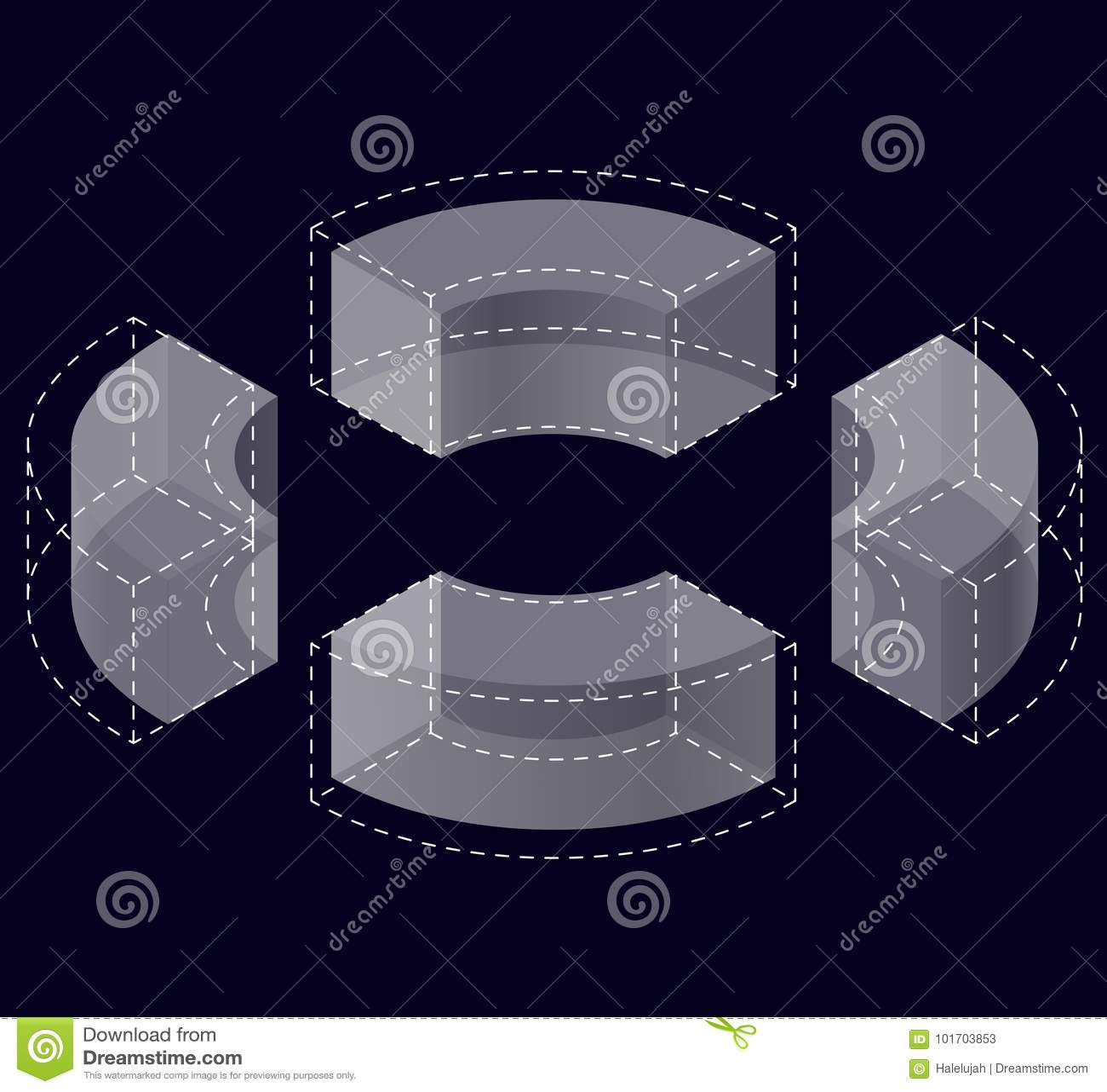Form des gebogenen Vektors der Zusammenfassung auf Schwarzem Isometrische Marke der wissenschaftlichen Institution, Forschungszen
