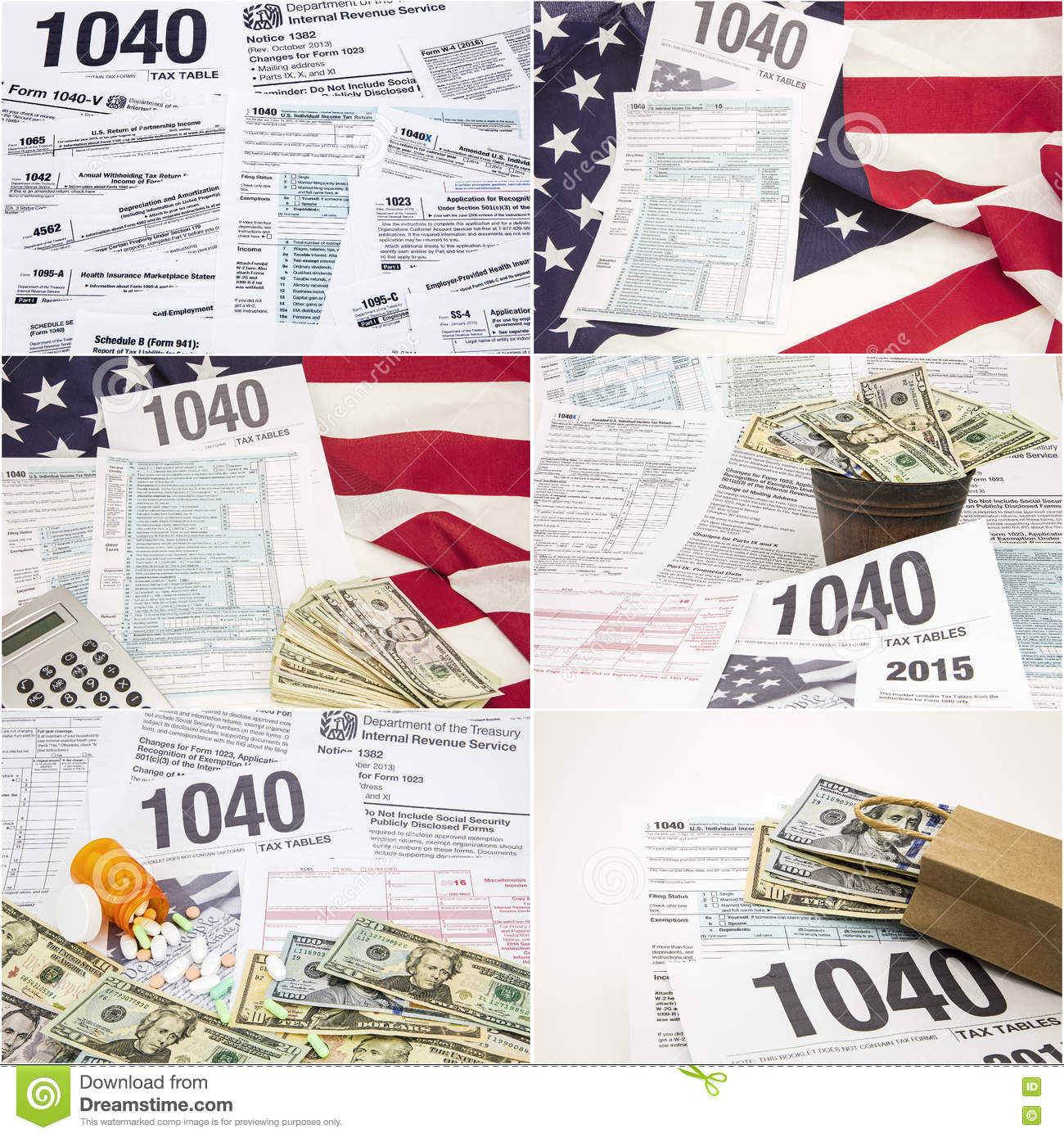 Form 1040 IRS Income Tax American Flag Drugs Money Collage Stock ...