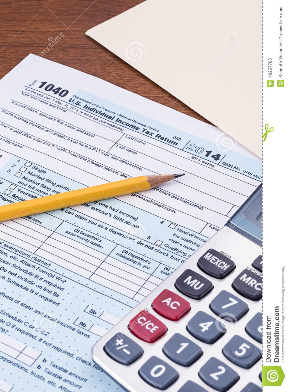 Form 1040 For 2014 Tax Year Stock Photo Image Of 1040 States
