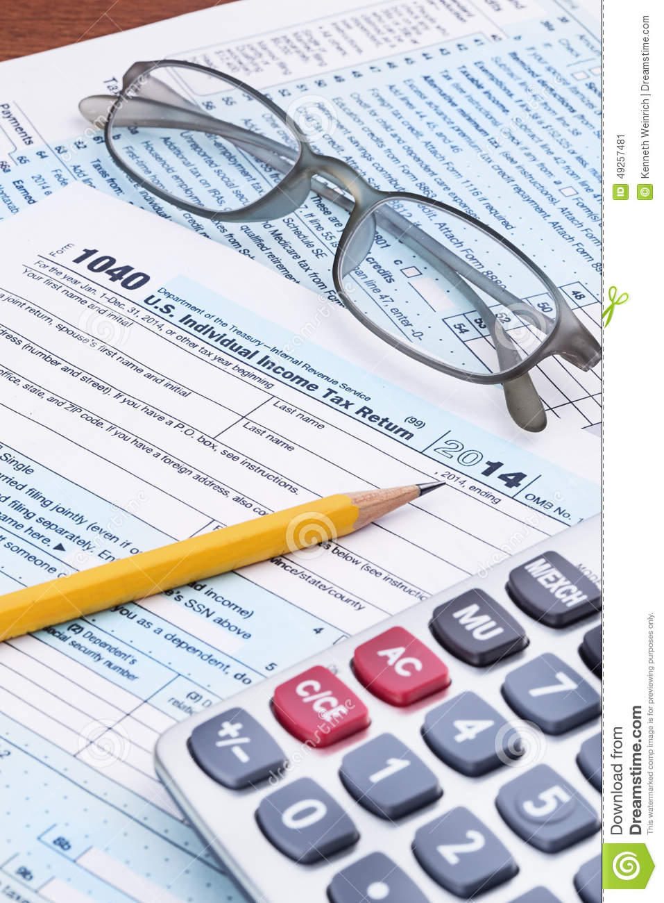 Form 1040 For 2014 Tax Year Stock Image Image Of Closeup Year