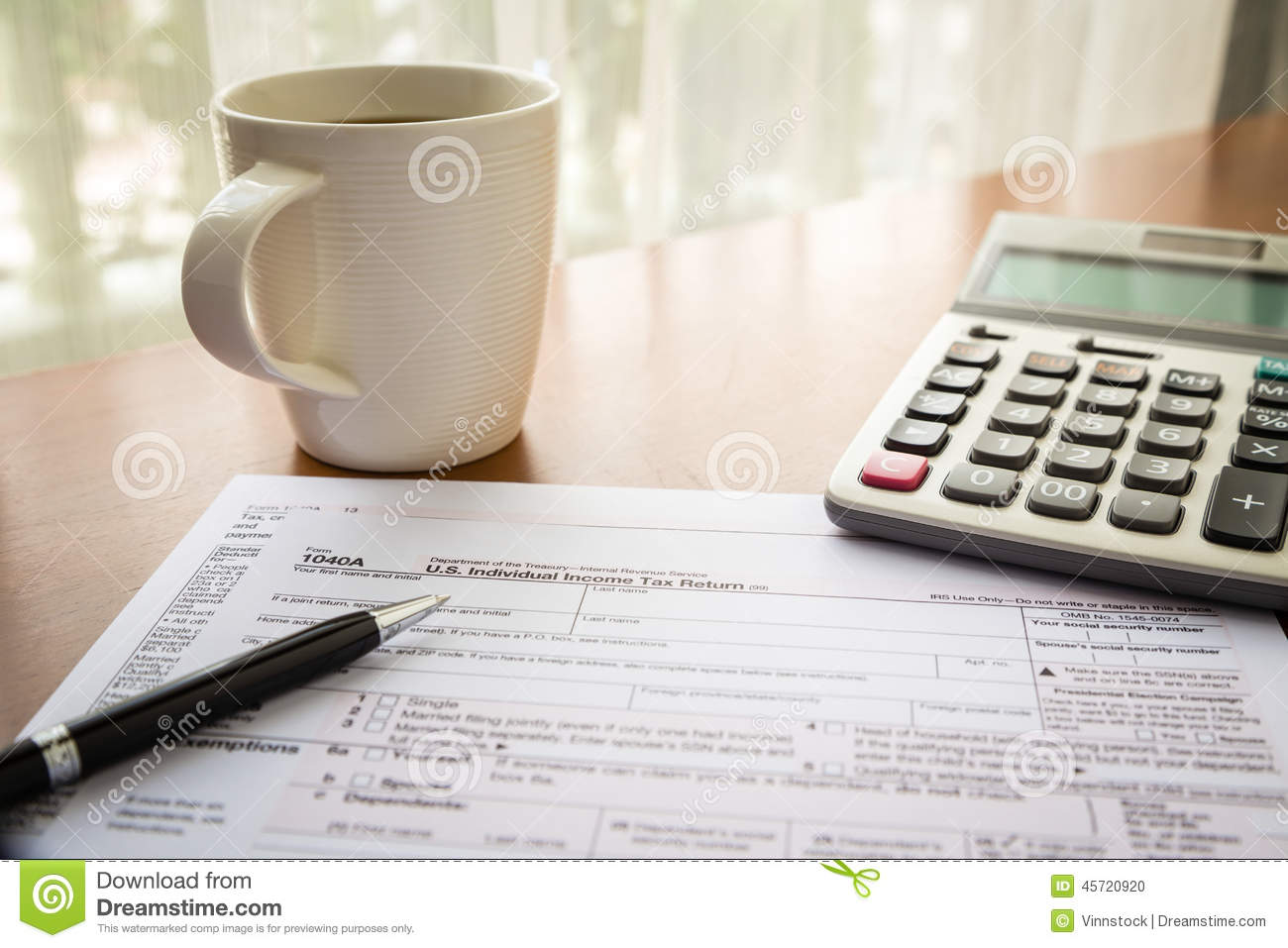 Form 1040a u s individual income tax return stock photo for 1040a tax table 2014