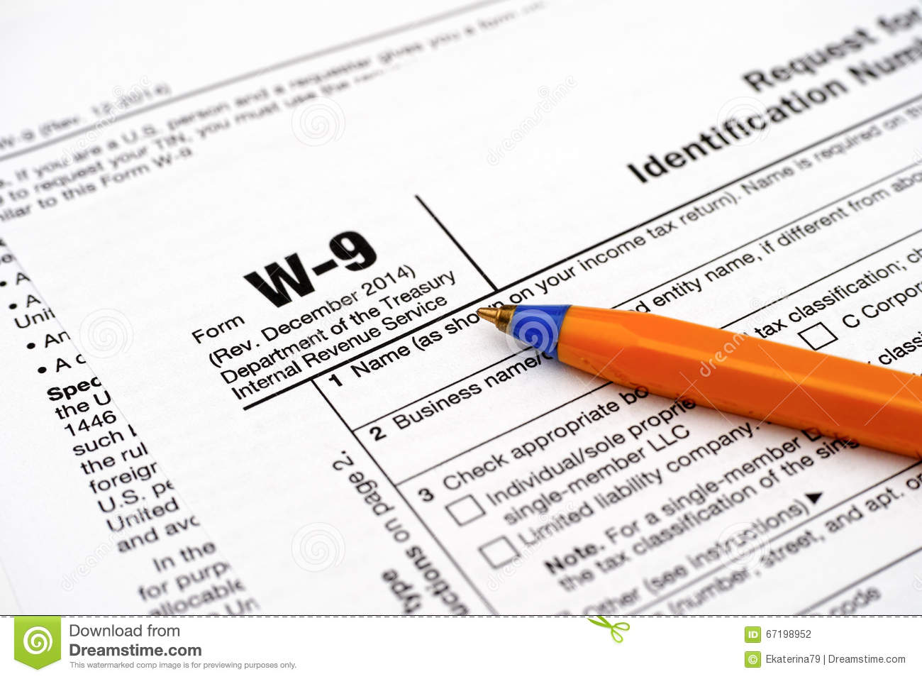 Form W 9 With Ballpoint Pen Stock Photo Image Of Working Taxpayer