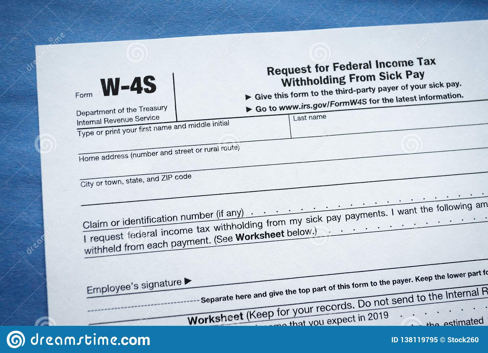 Form W-4S Request for Federal Income Tax Withholding From Sick Pay