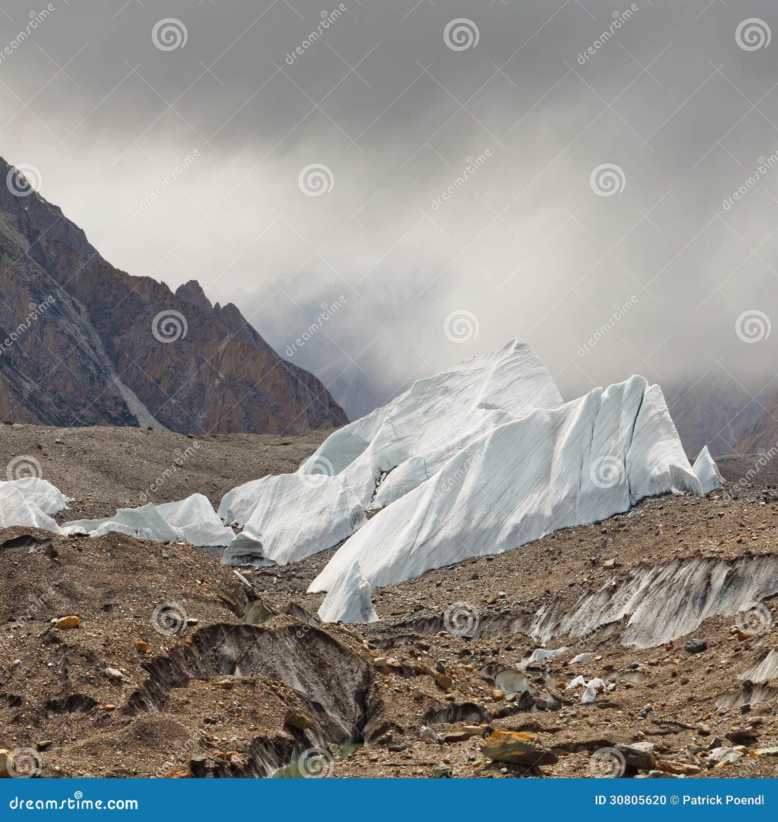 Formações de gelo na geleira de Baltoro