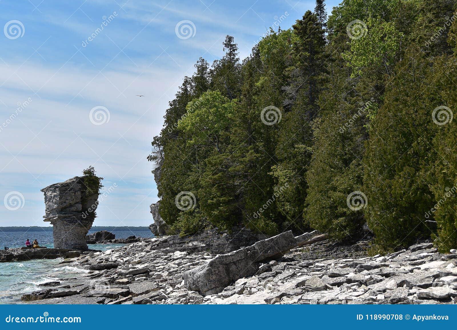 Formações de rocha na costa