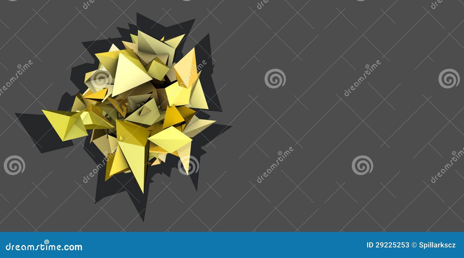 Download Forma 3d Elétrica Cravada Amarela Abstrata Ilustração Stock - Ilustração de decor, fragmentado: 29225253