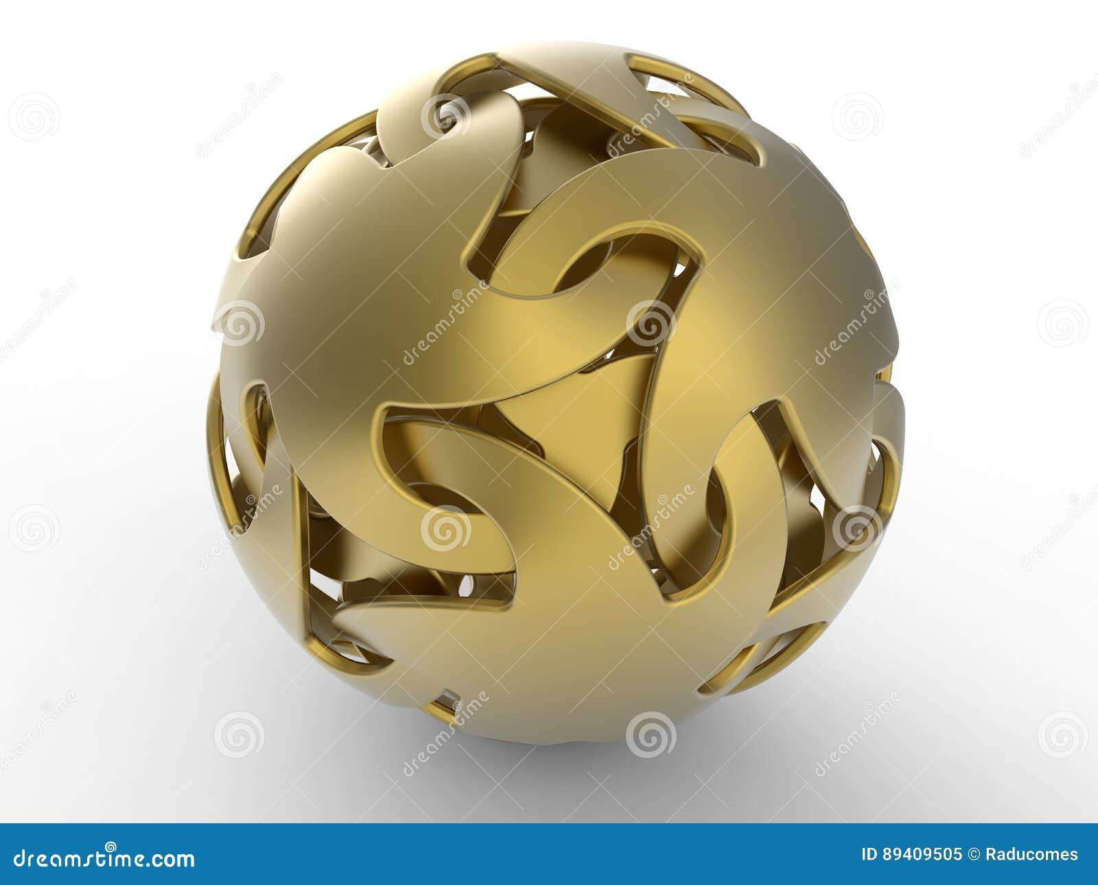 Forma abstrata dourada das esfera-estrelas