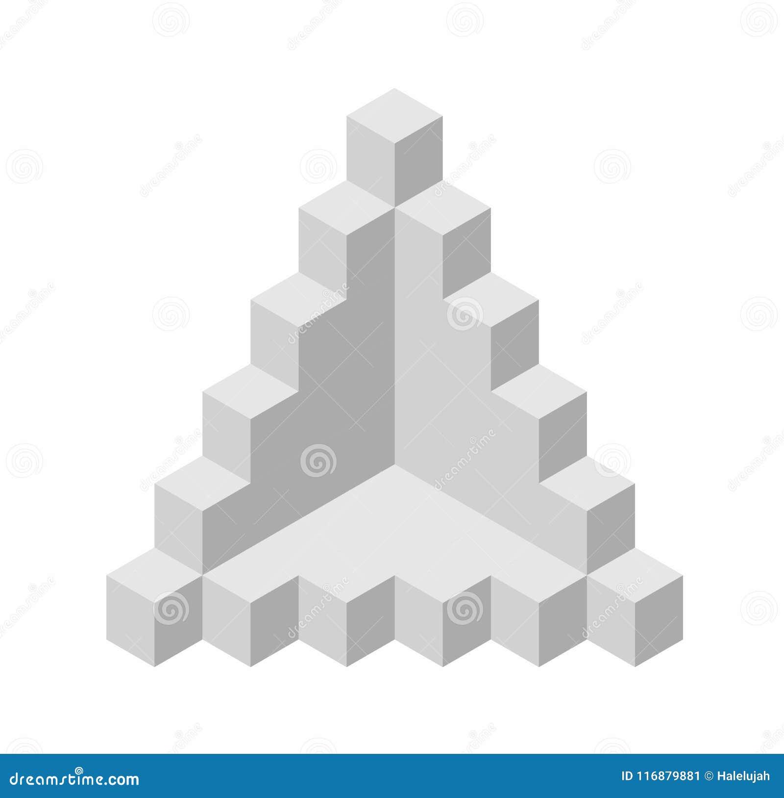Forma astratta di vettore del cubo Marca isometrica di istituzione scientifica, forma minimalistic del blocco