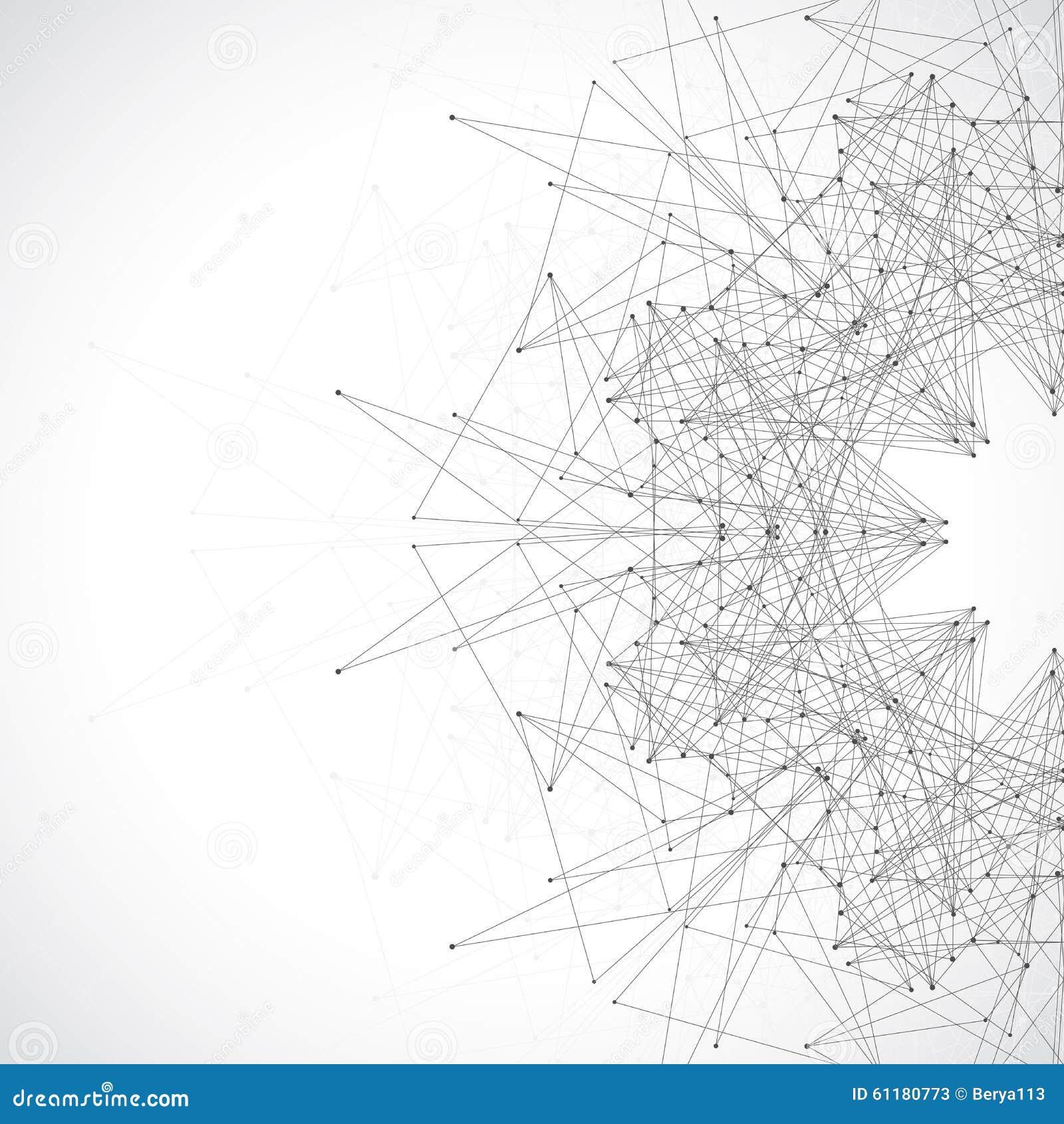 Forma astratta geometrica con le linee ed i punti collegati Disegno futuristico di tecnologia Illustrazione di vettore