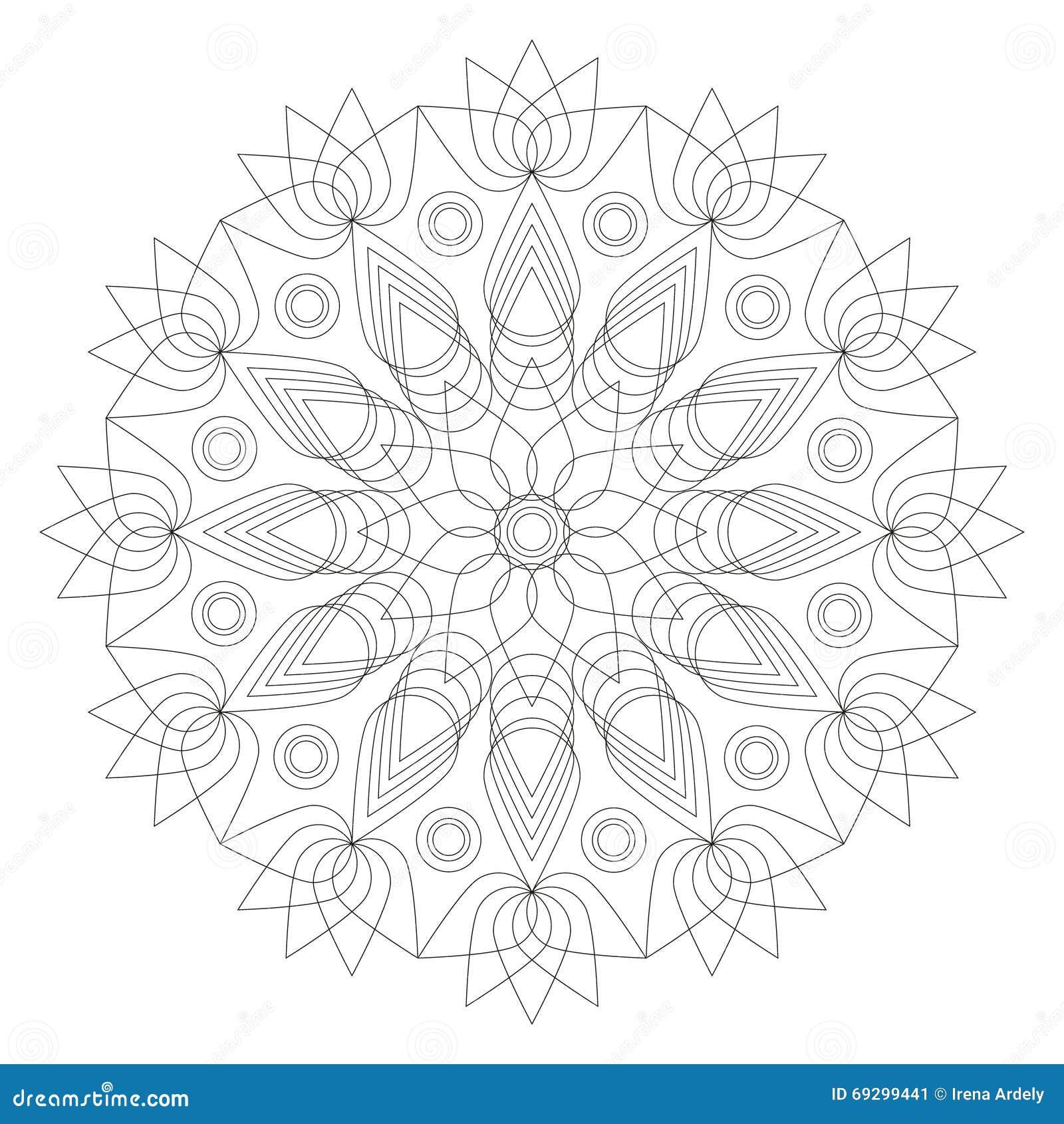 Forma In Bianco E Nero Del Fiore Di Loto Della Mandala Pagina