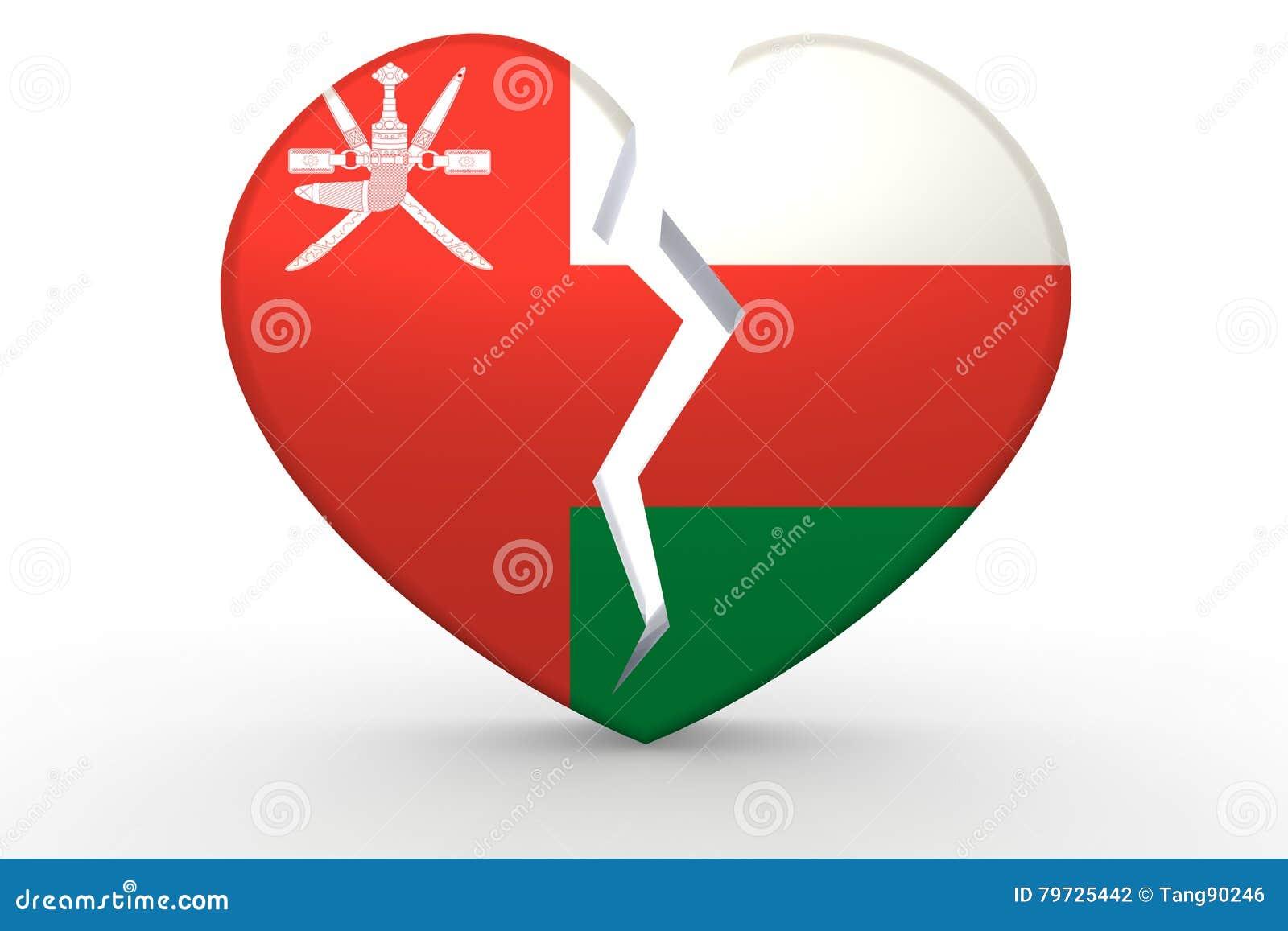 Forma blanca quebrada del corazón con la bandera de Omán