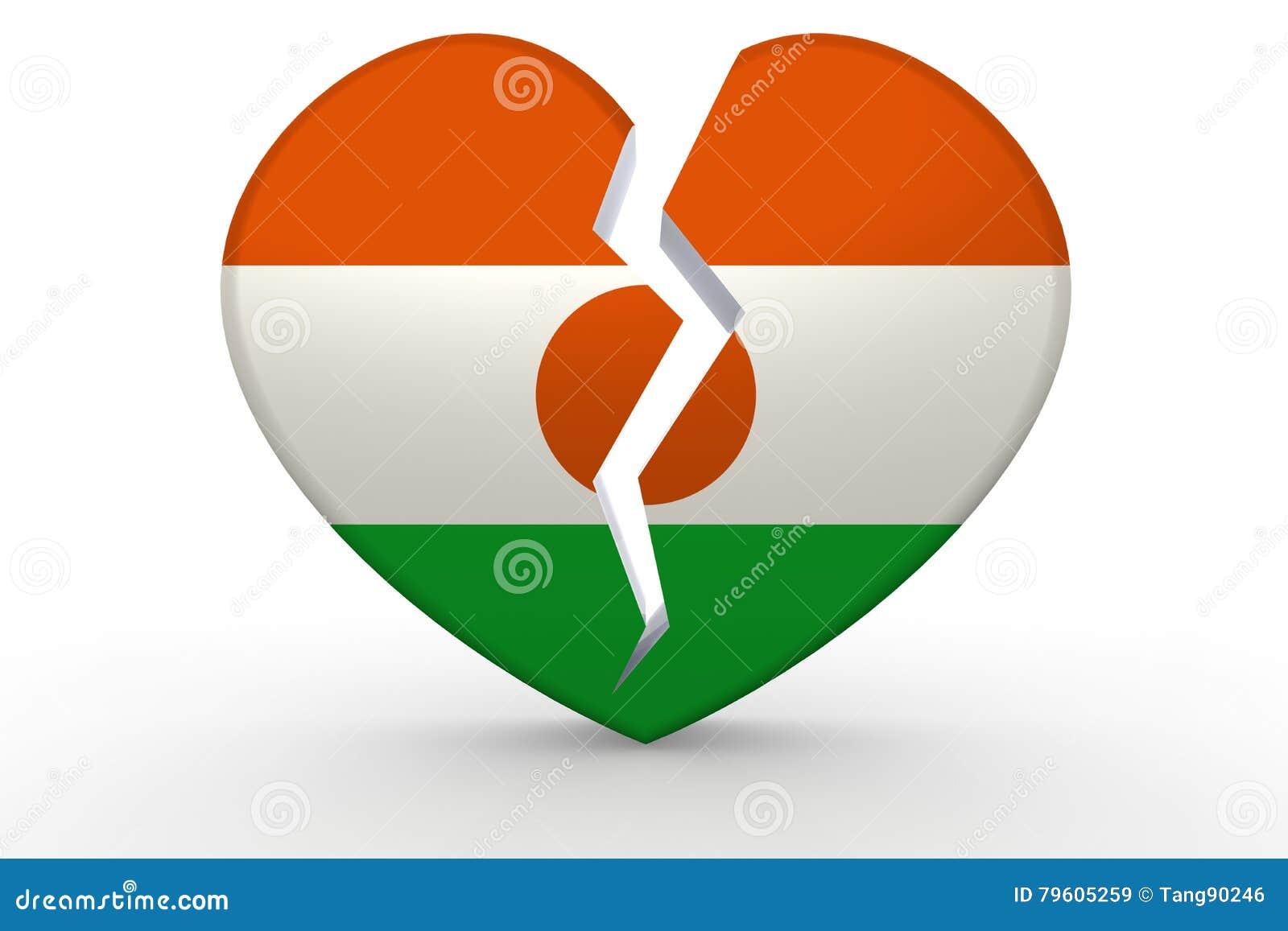 Forma branca quebrada do coração com bandeira de Niger