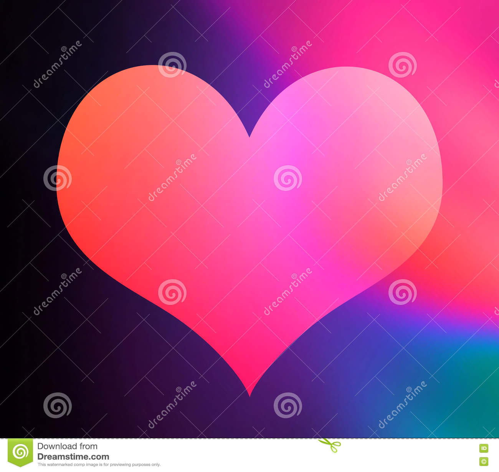Forma colorida do coração