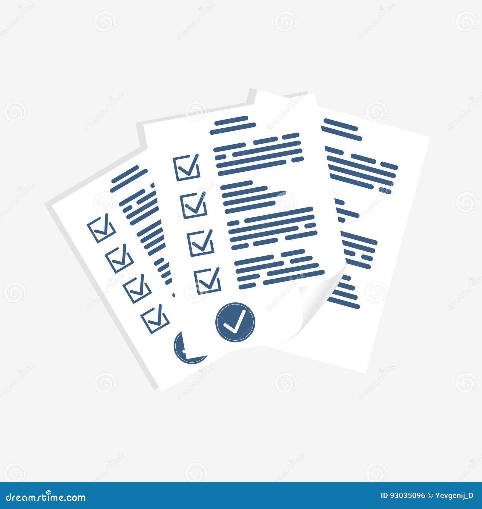 Forma de la encuesta, hojas de papel Forma del examen, lista de control para la forma de la evaluación, del cuestionario o del co