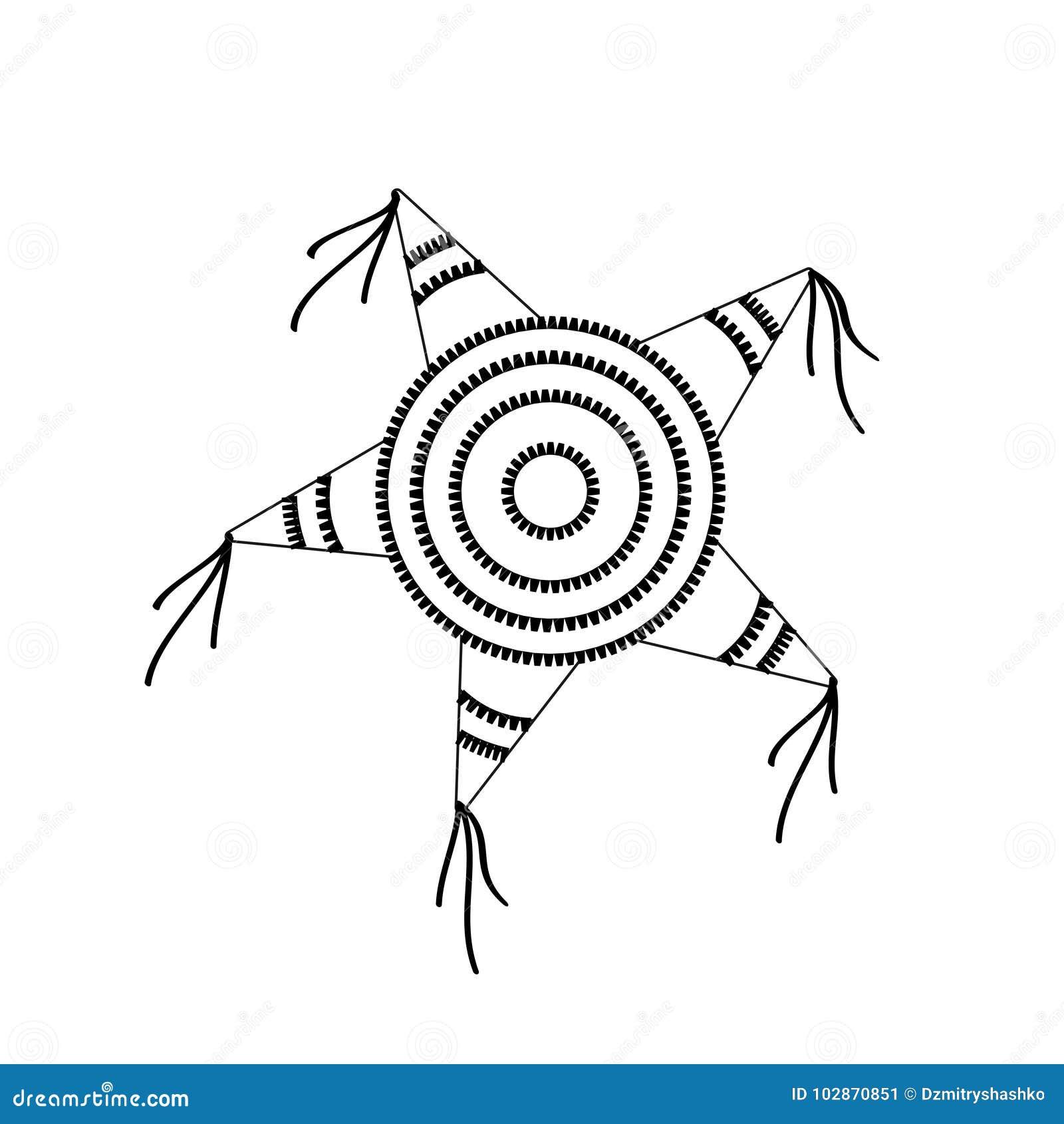 Forma De La Estrella Del Pinata Ilustración Del Vector