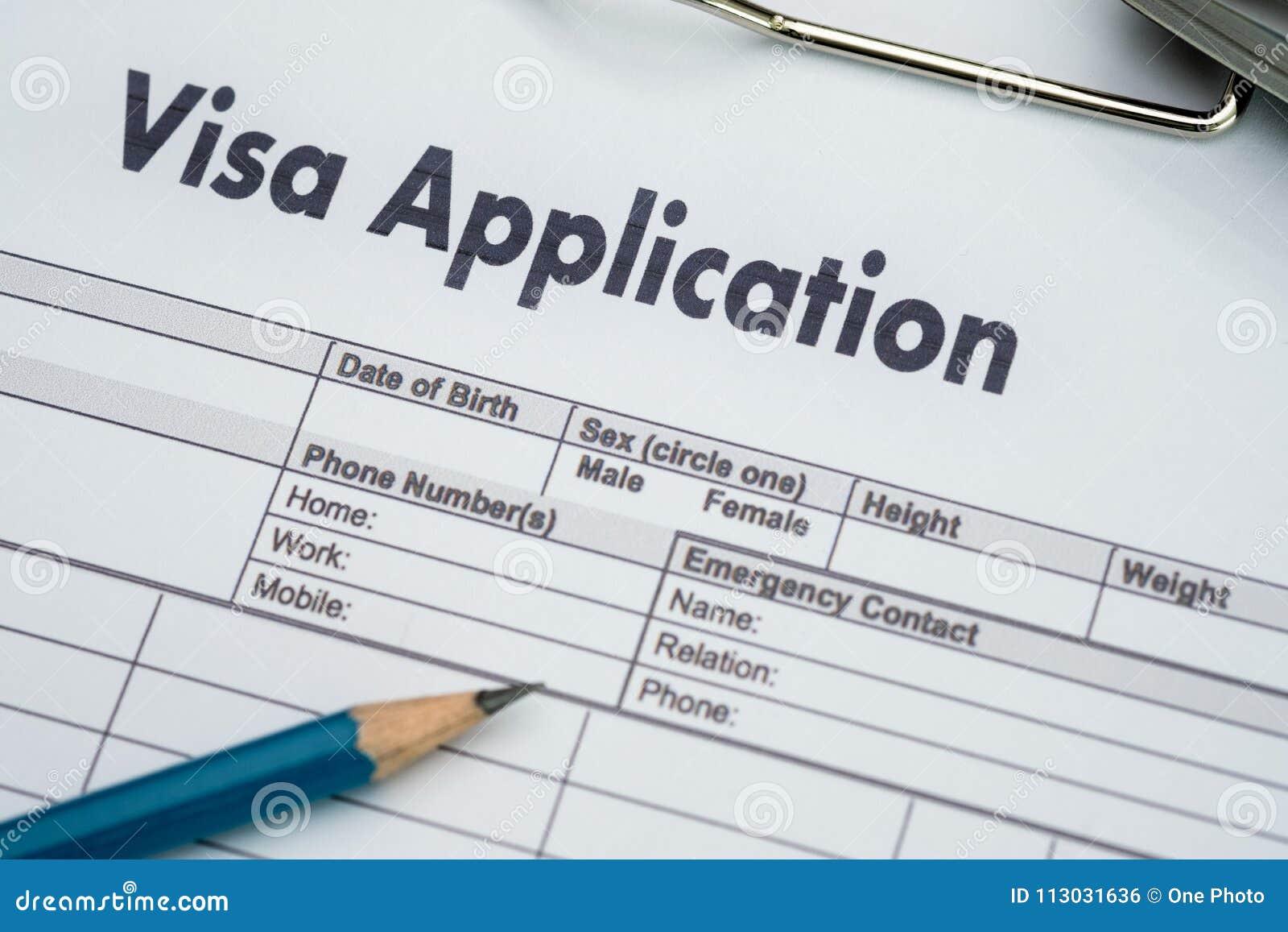Forma de la solicitud de visado a viajar inmigración un dinero del documento para