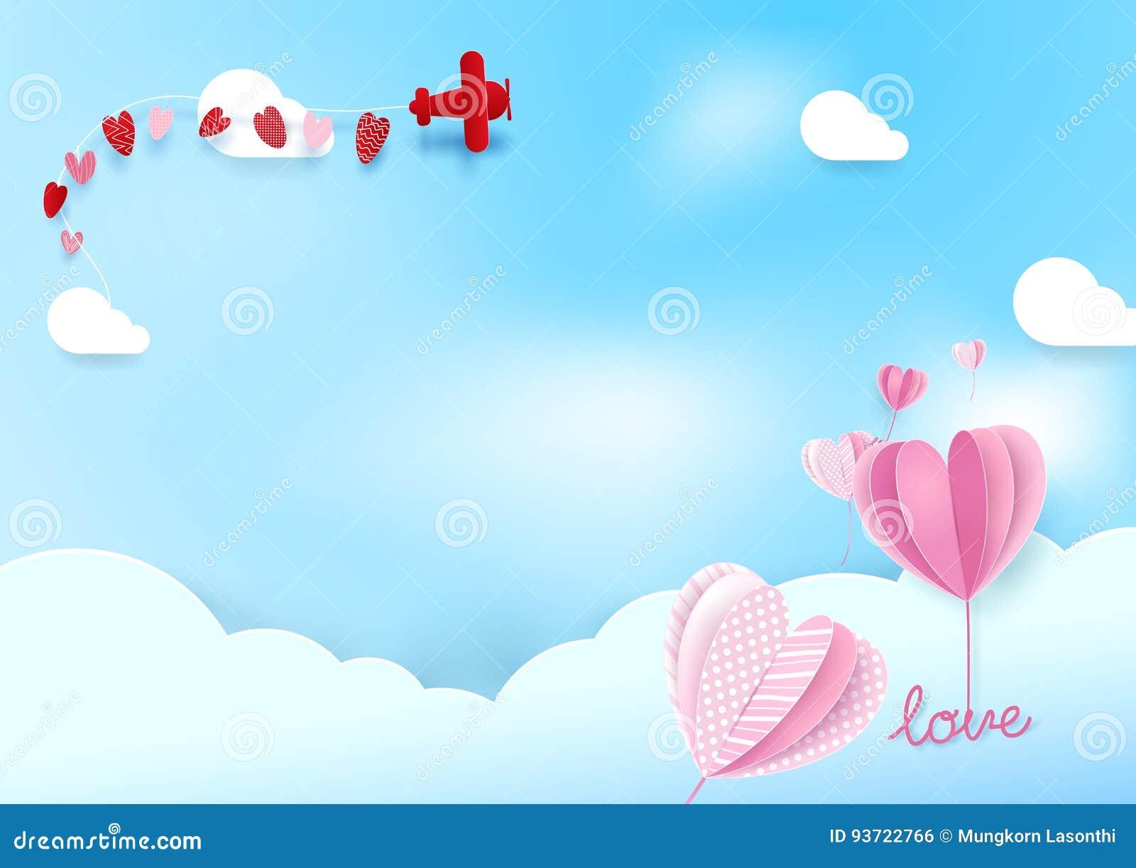 A forma de papel do coração do estilo da arte balloons o voo no céu com avião