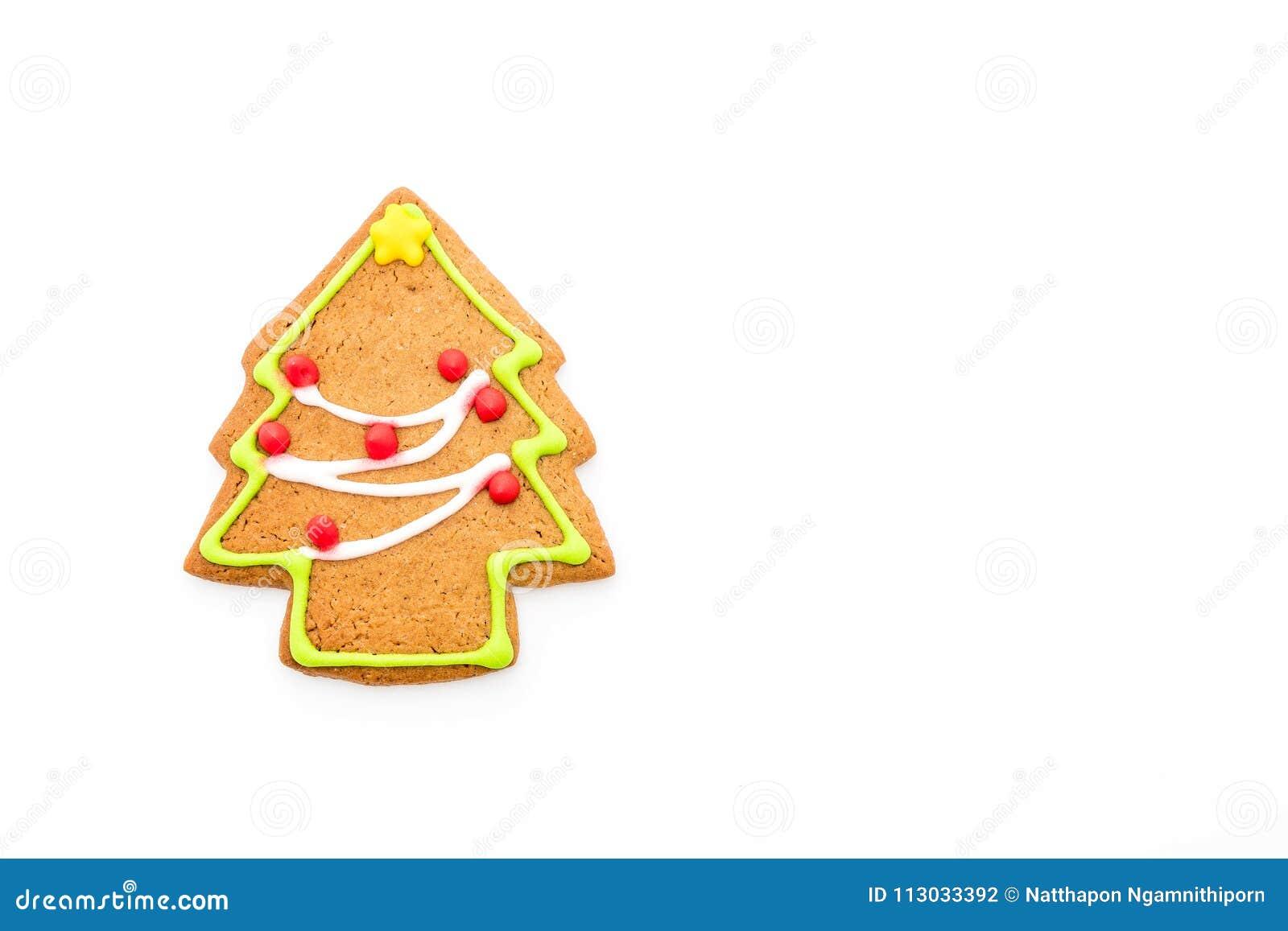 Forma del árbol de navidad del pan de jengibre en blanco