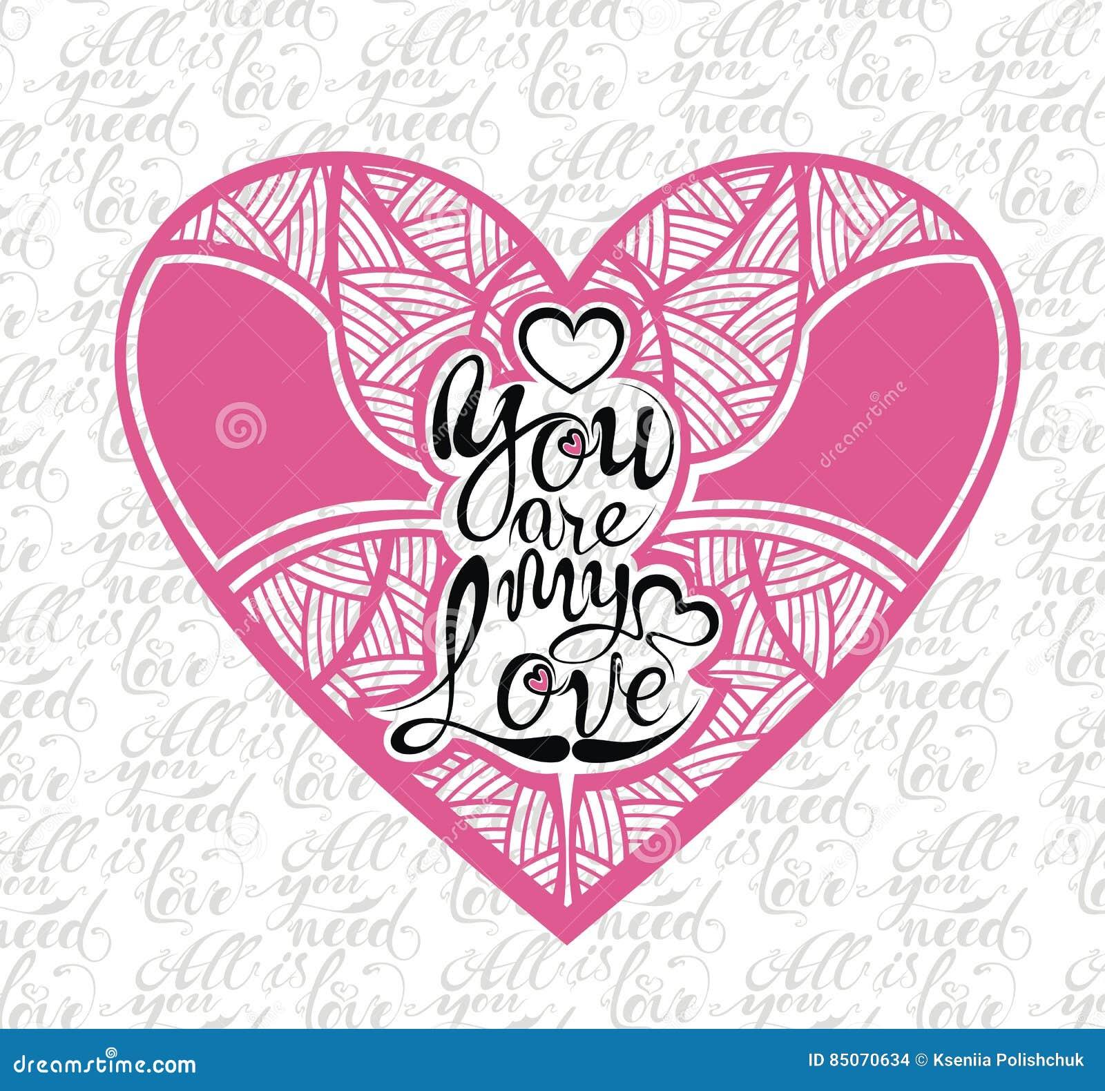 Forma Del Corazon Con Frase Del Amor Ilustracion Del Vector