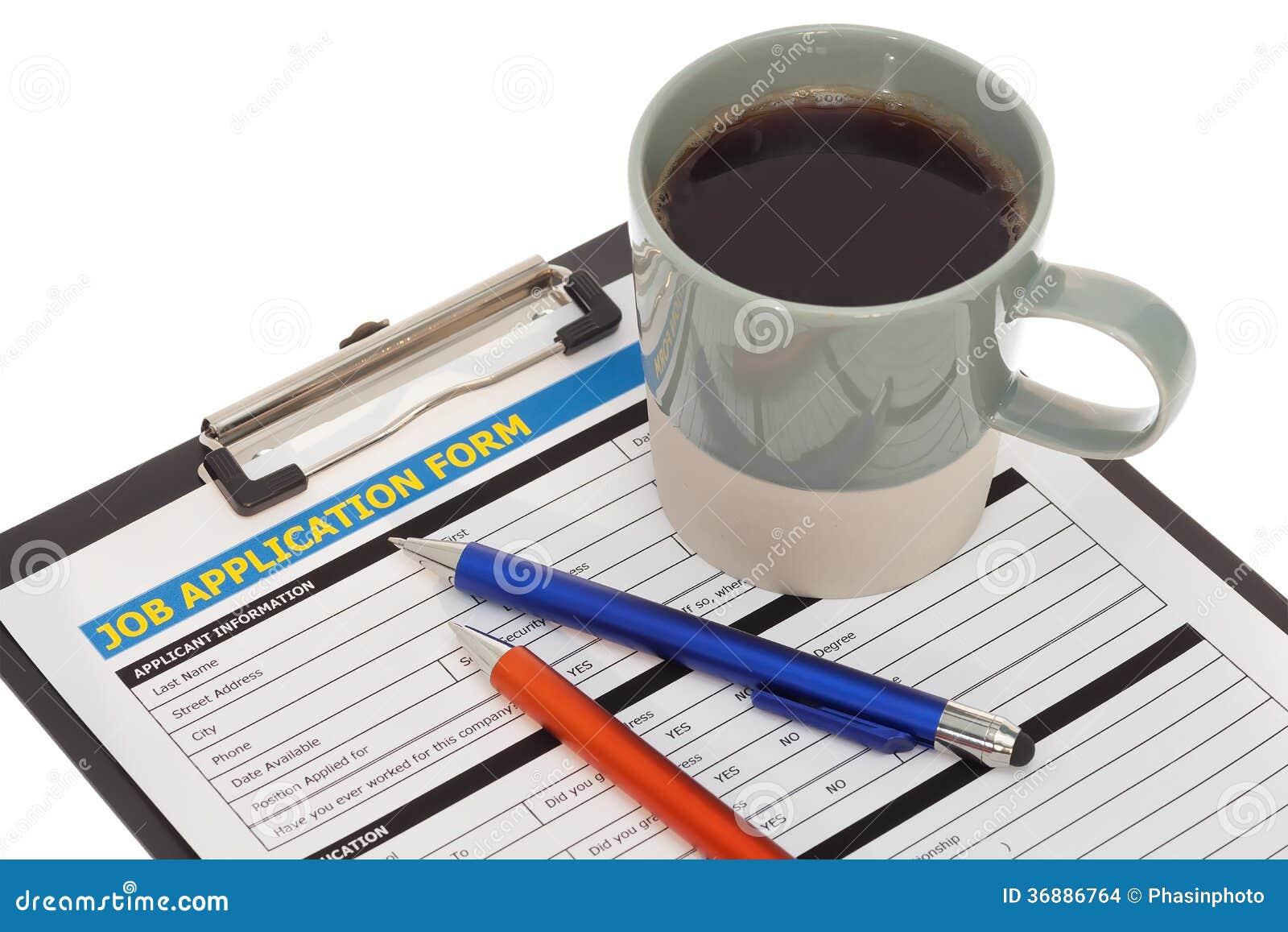 Download Forma Di Applicazione Di Lavoro Con La Tazza Di Caffè Fotografia Stock - Immagine di occupazione, lavoro: 36886764