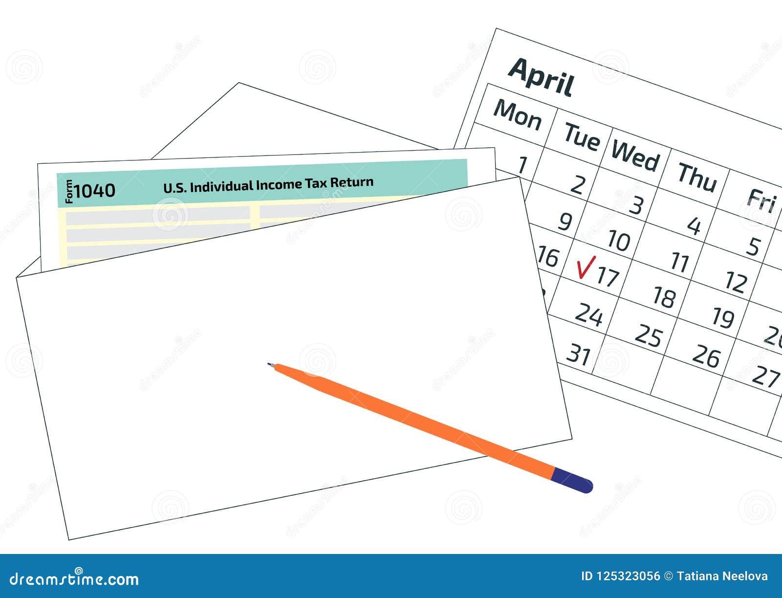 Imposta Calendario.2019 Forma 1040 Di Imposta 2020 Nella Busta Una Penna E Un