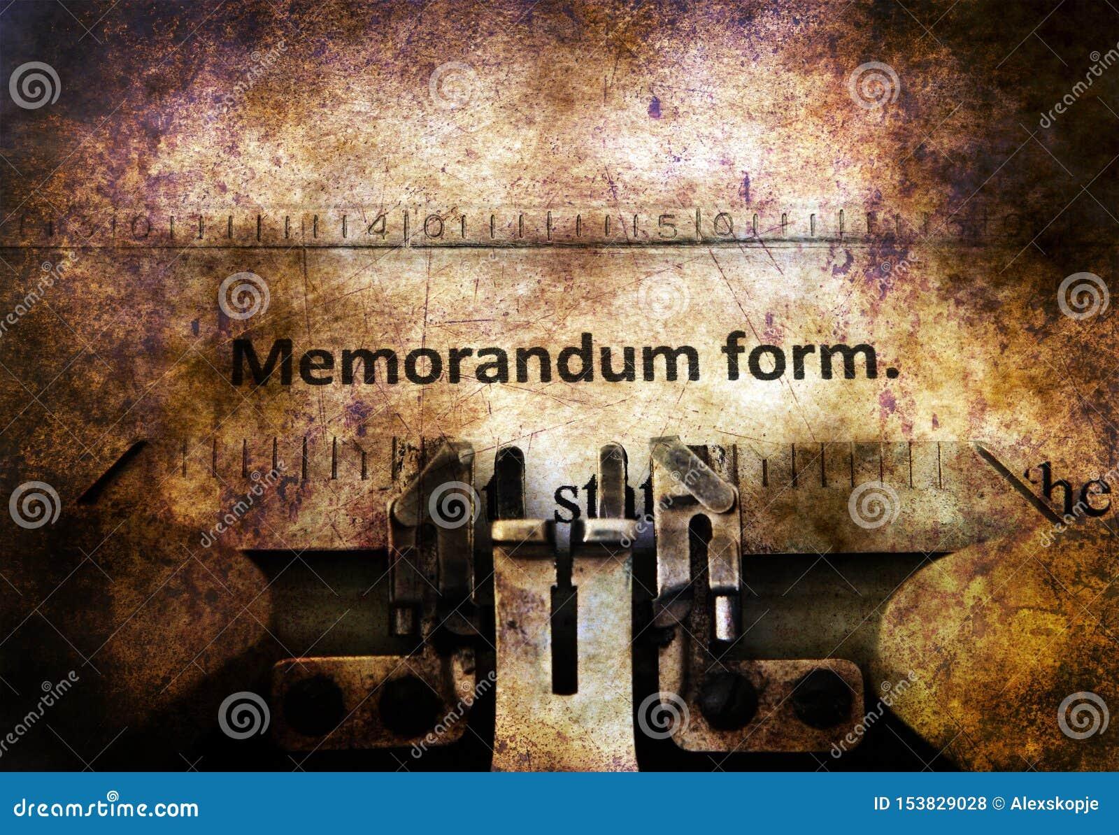 Forma di memorandum sulla macchina da scrivere d annata
