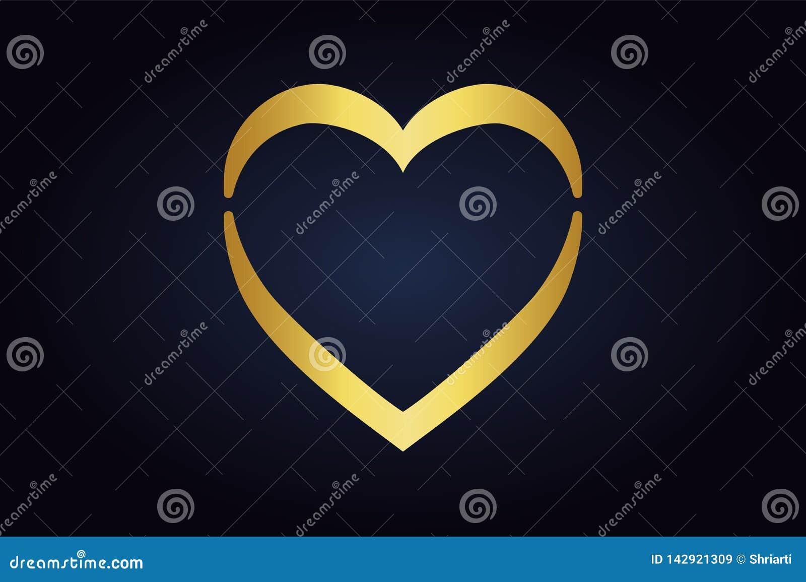 Forma di vettore del cuore su fondo scuro Romanzesco semplice