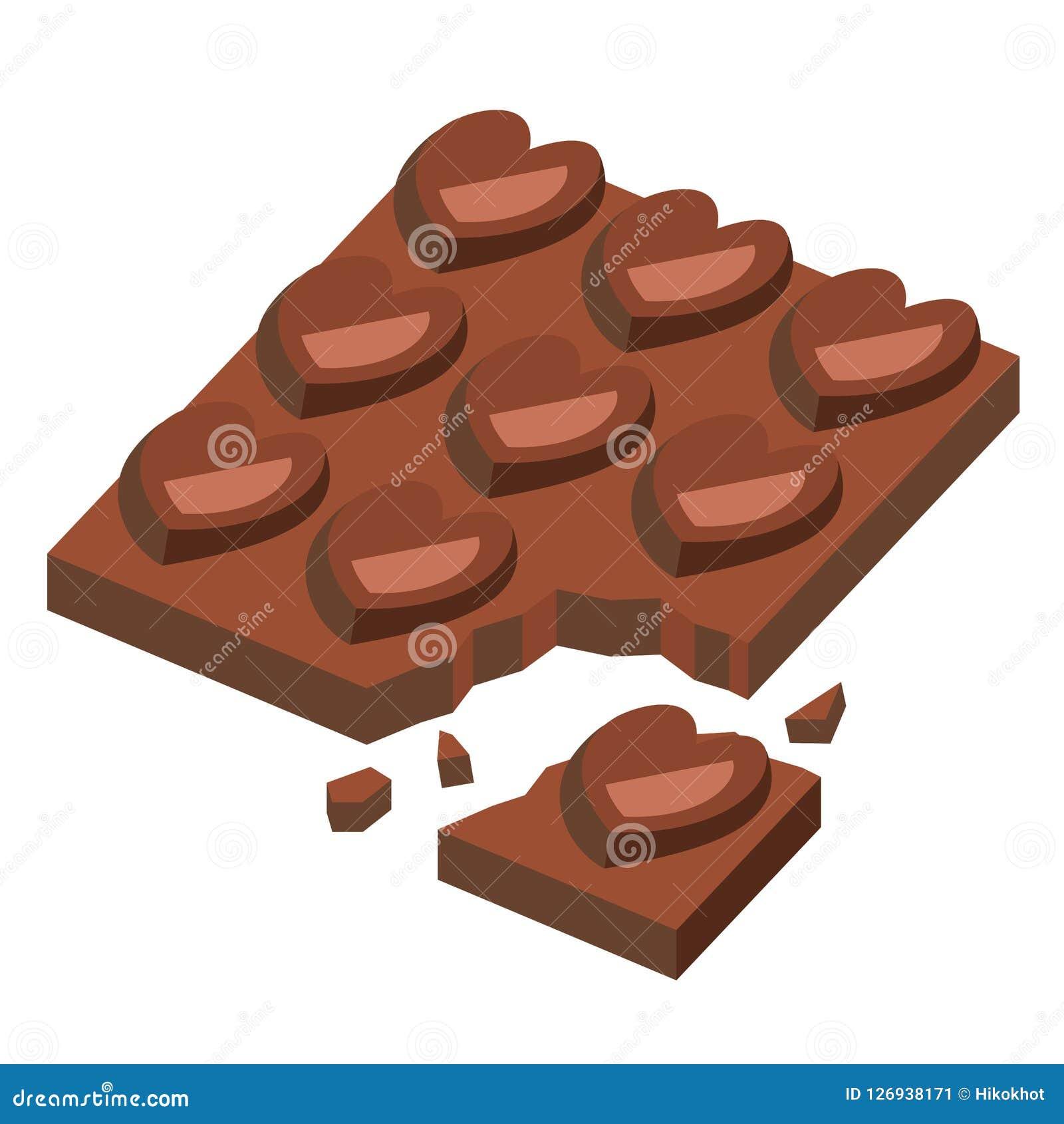 Forma do coração da barra de chocolate para o dia de são valentim, rachada