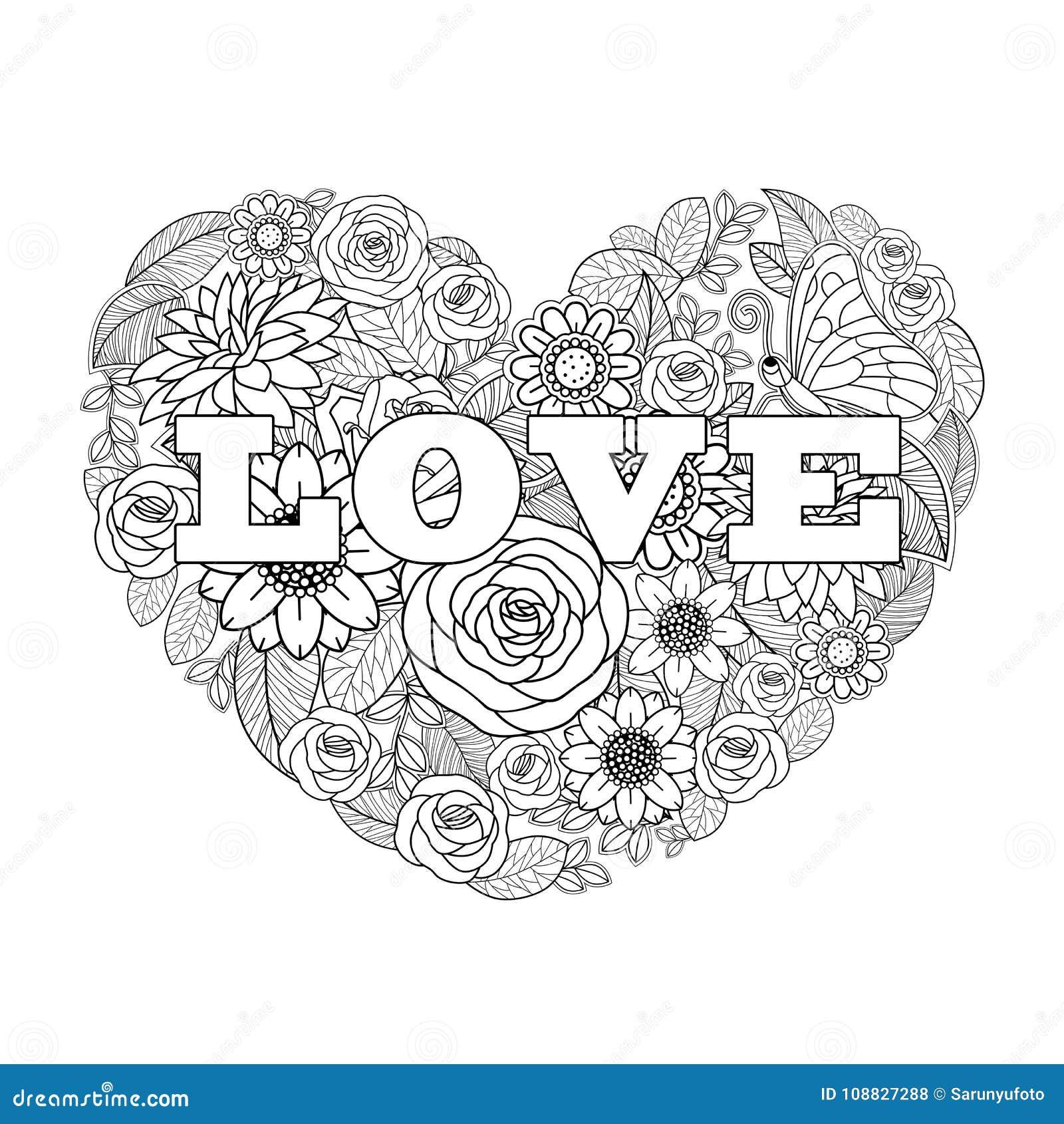 Forma Do Coração Do Desenho Da Flor Do S Do Valentim Preto