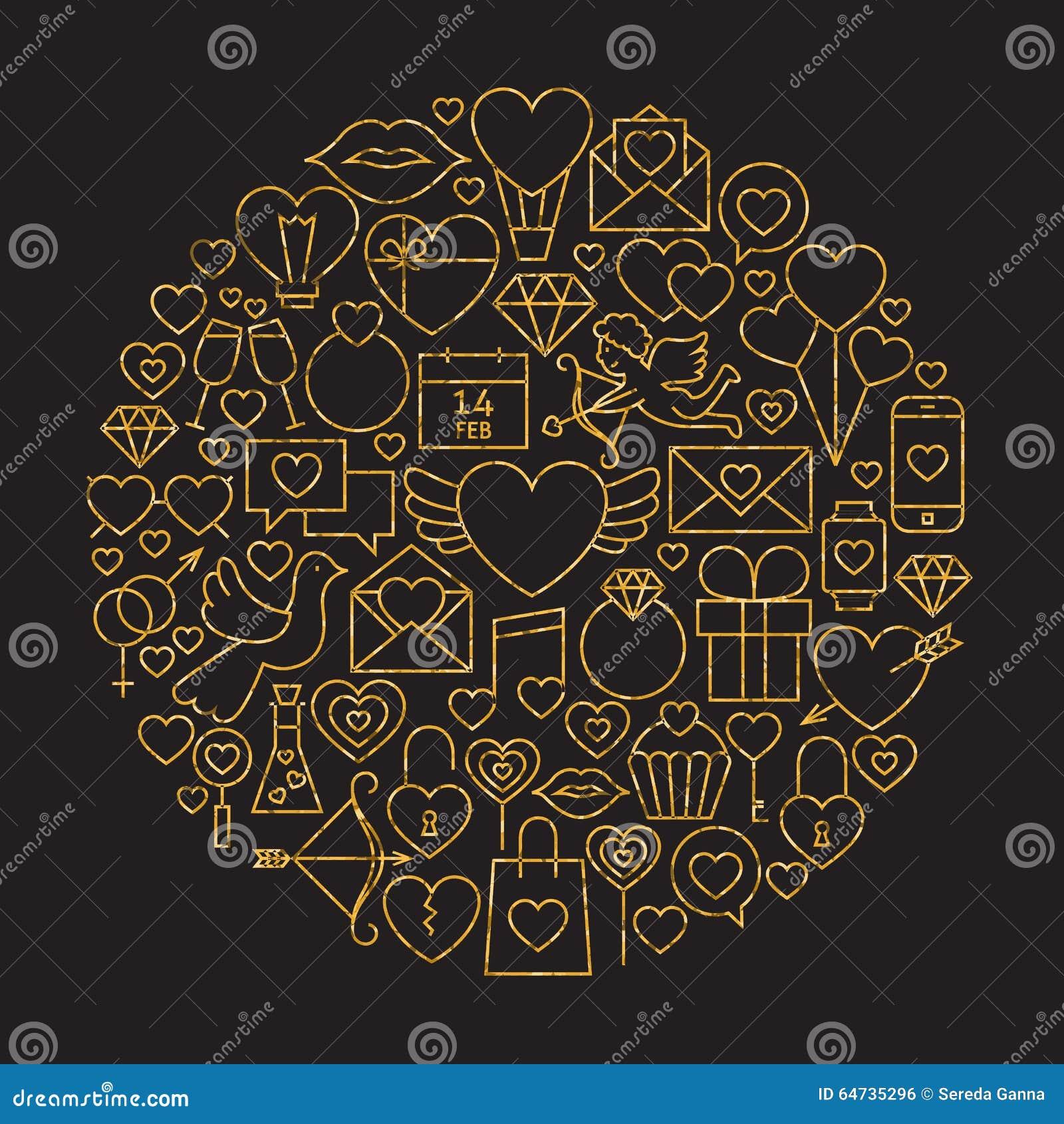 Forma felice del cerchio di Valentine Day Line Icons Set del nero e dell oro