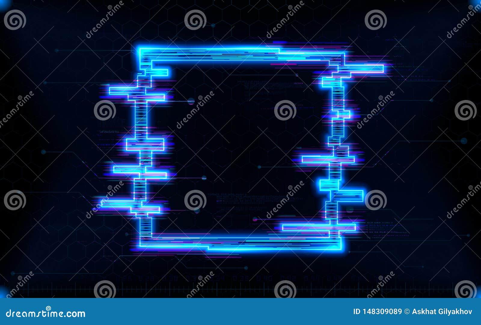 Forma futurista do quadrado de HUD do holograma com incandescência de néon