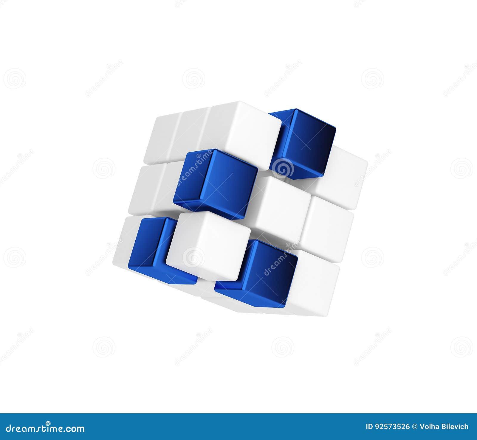 Forma geometrica astratta dai cubi blu e bianchi 3d rendono
