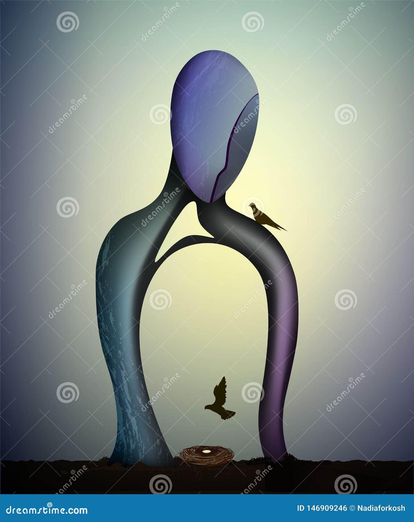 Forma humana con la jerarquía creciente del insideand del árbol con las palomas, concepto de esperanza y hogar