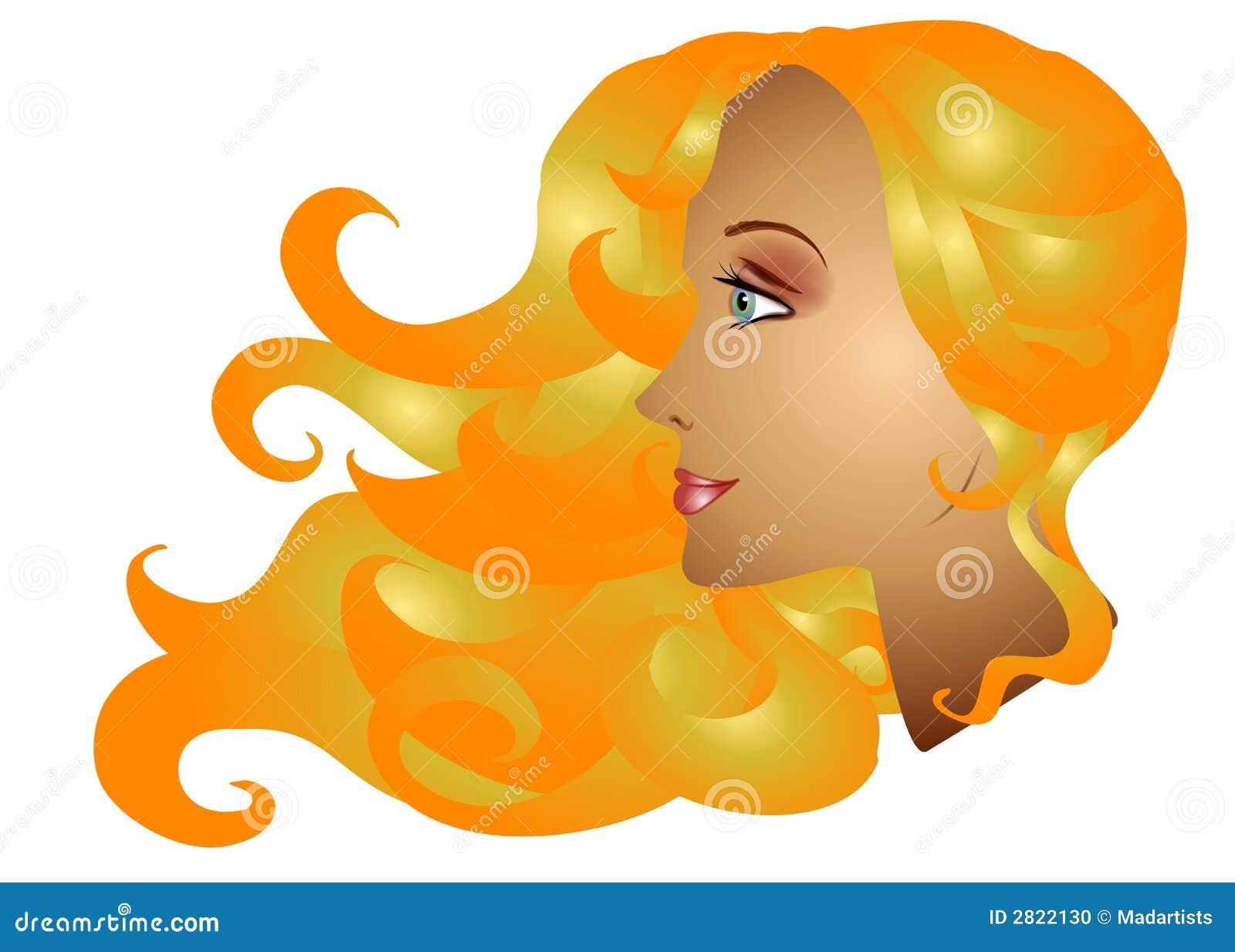 Forma longa do cabelo da mulher loura