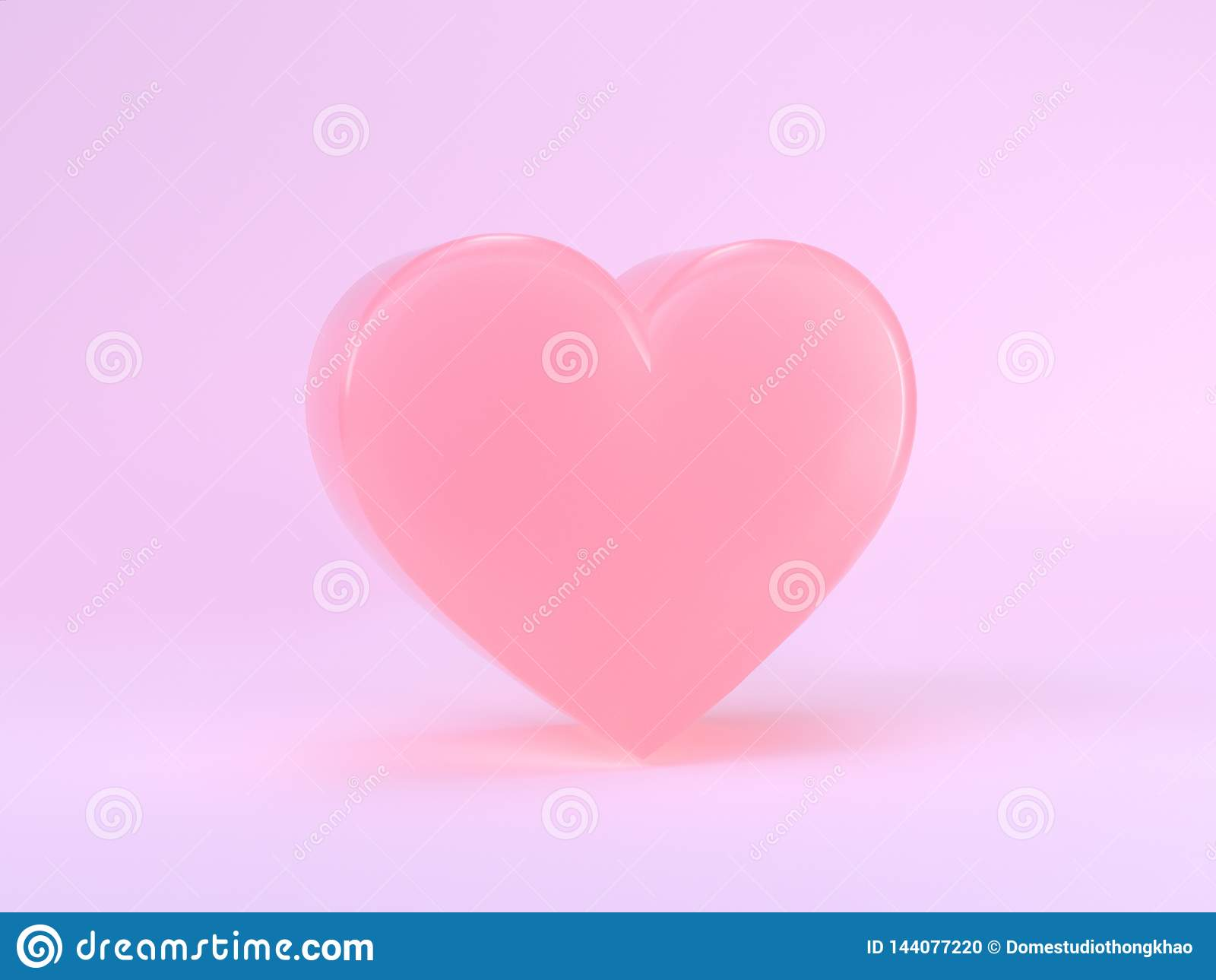Forma lucida 3d del cuore di scena dei semi minimi variopinti pastelli di rosa che rende concetto romanzesco del biglietto di S.