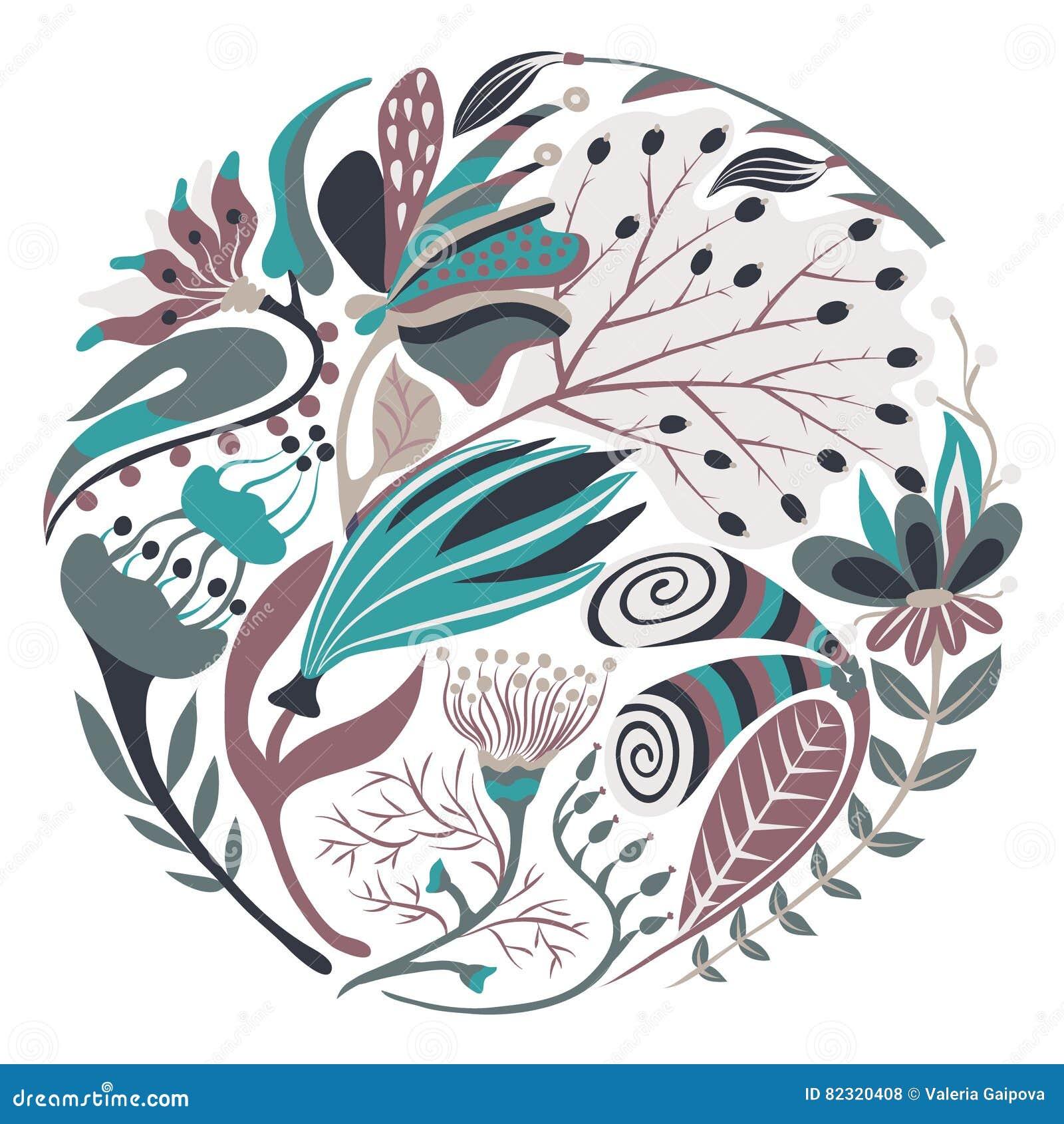 Forma rotonda floreale Fiore creativo disegnato a mano nel cerchio Fondo artistico variopinto con il fiore Erba astratta