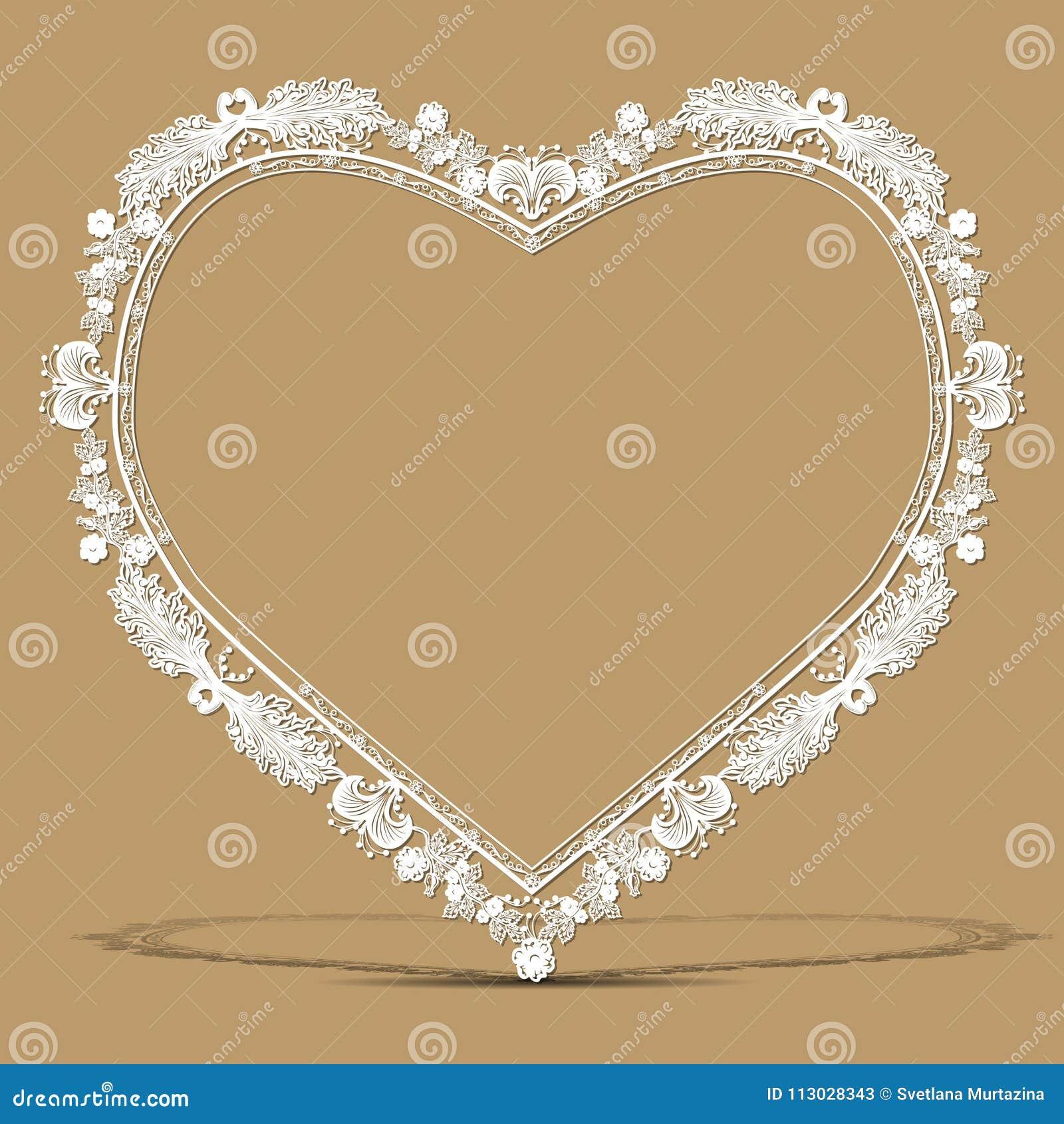 Forma tallada del marco del vintage del corazón con la sombra