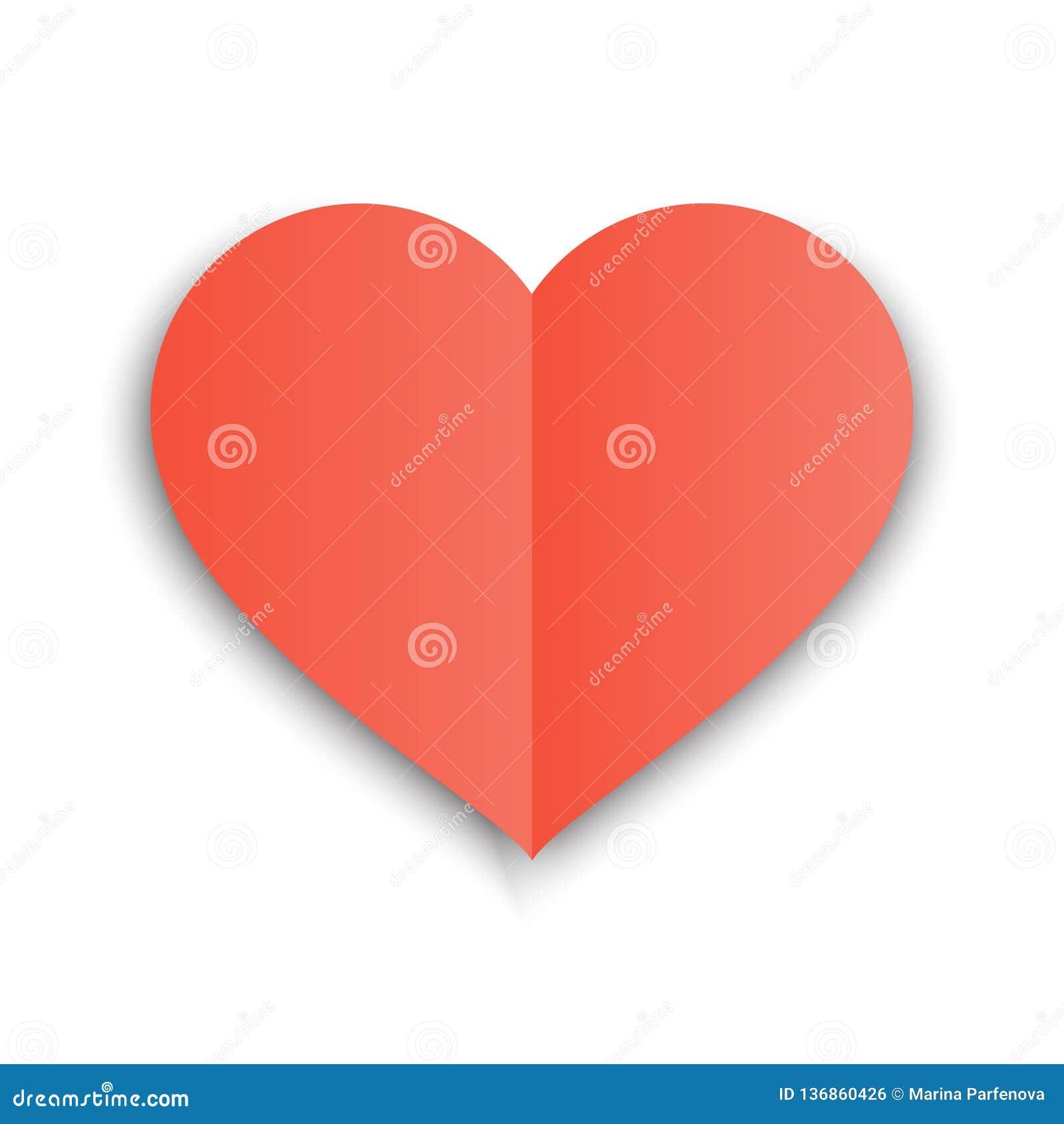 Forma vermelha do papel do coração com dobra e sombra Ilustração do vetor de Valentine Day postcard